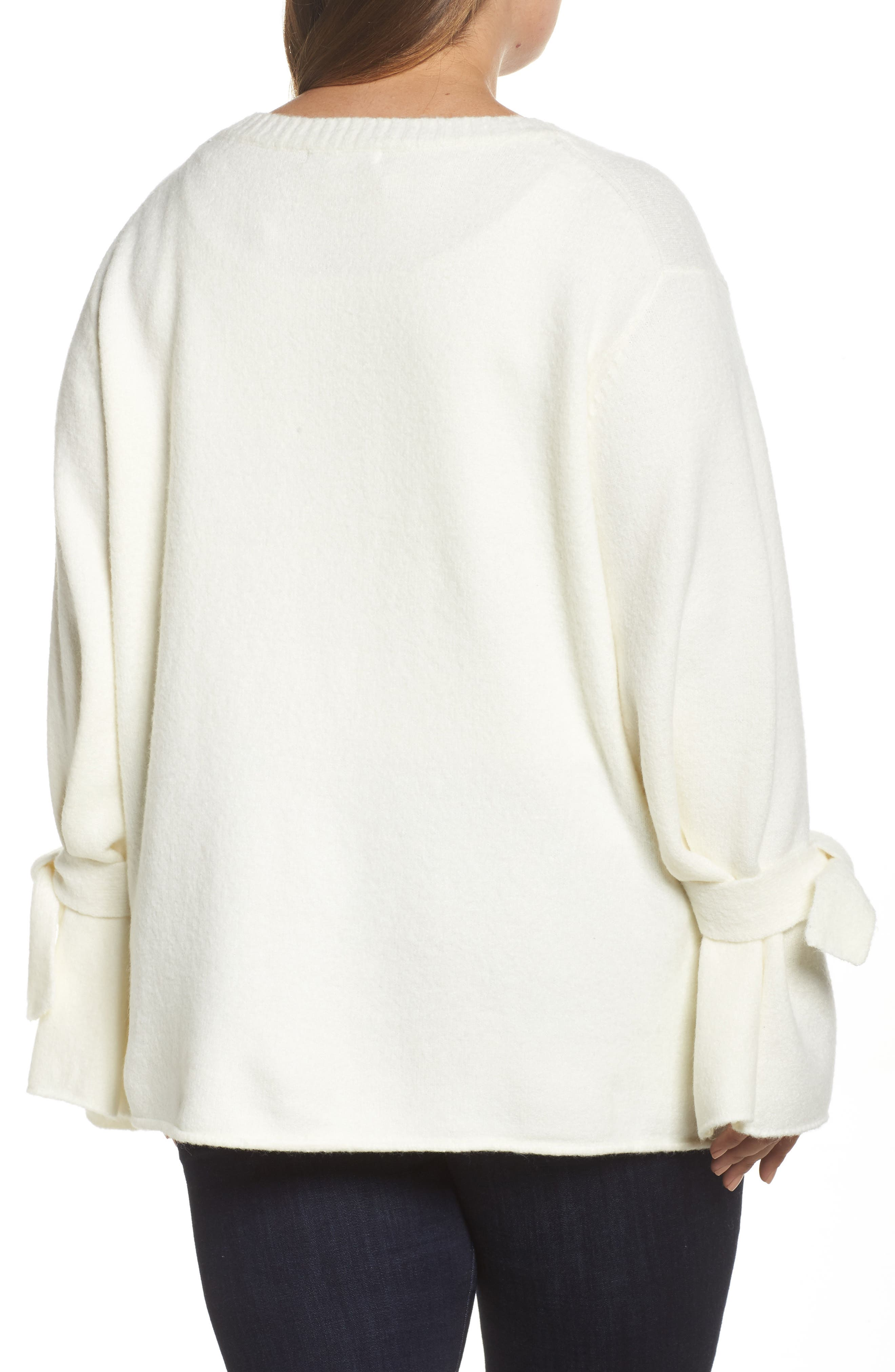 Tie Sleeve Sweater,                             Alternate thumbnail 2, color,                             White