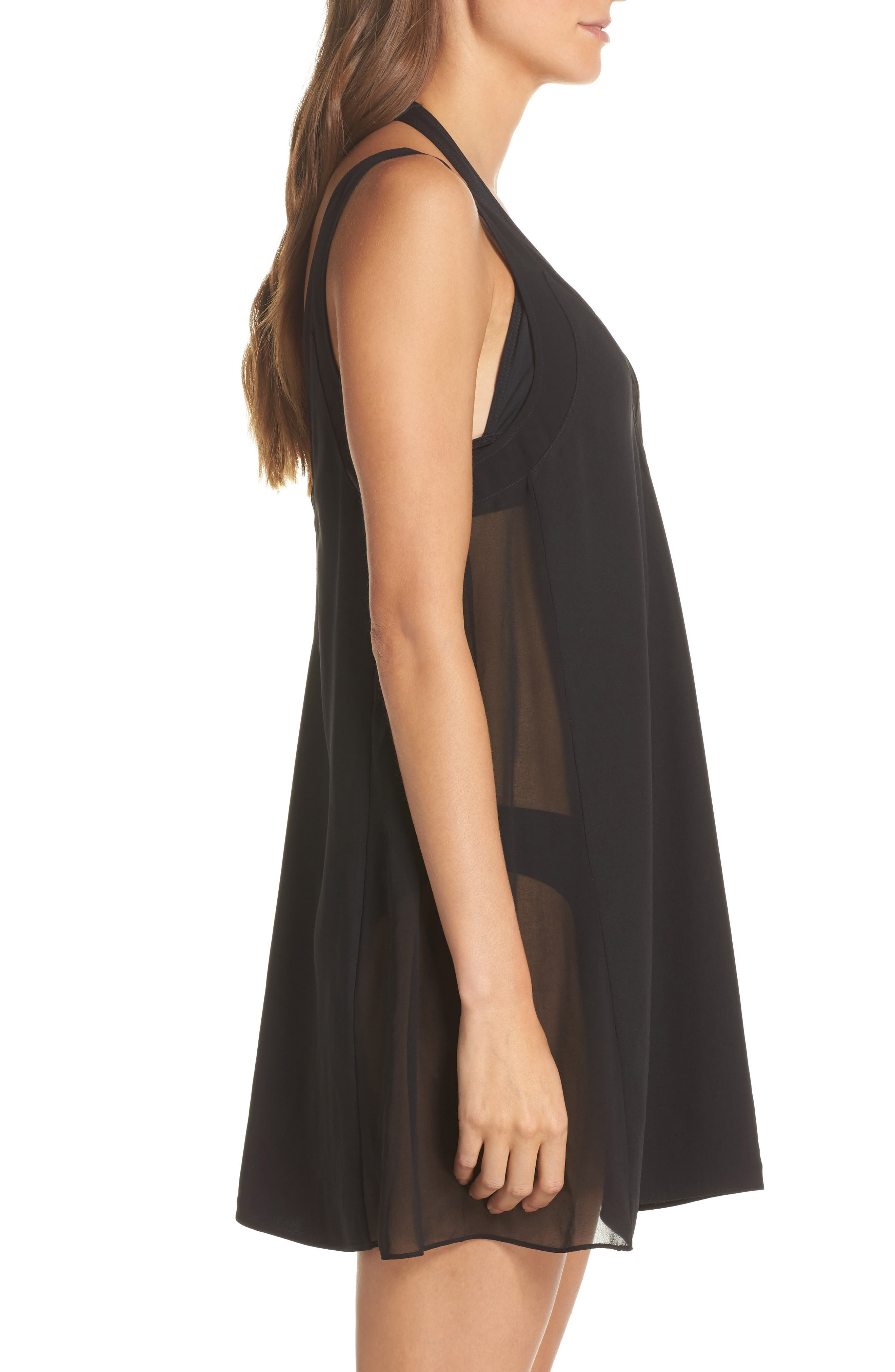 Mesh Panel Cover-Up Dress,                             Alternate thumbnail 3, color,                             Black