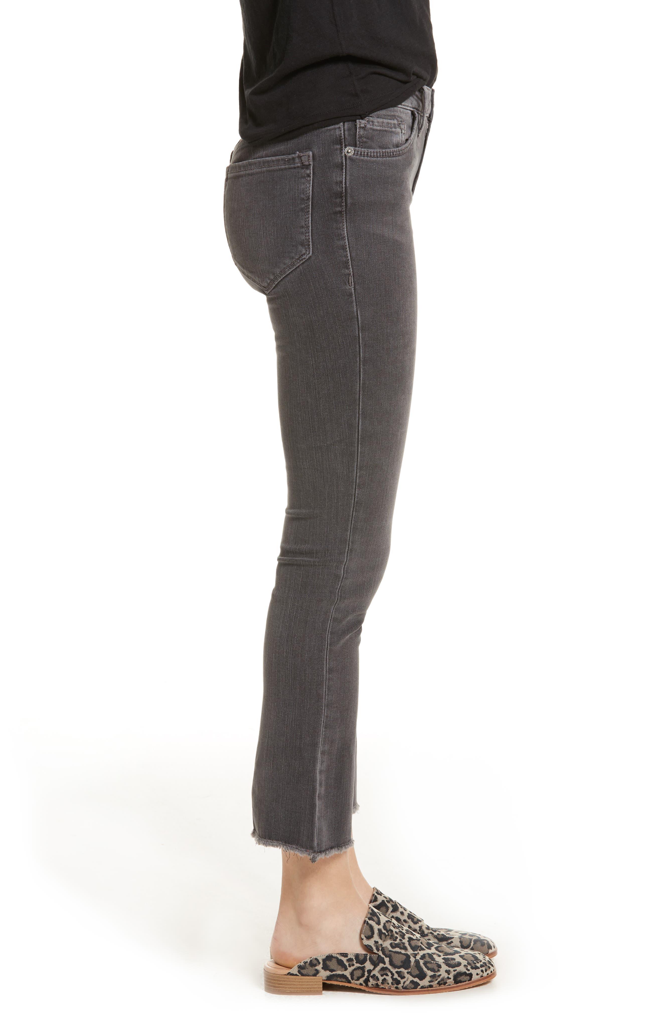 Crop Straight Leg Jeans,                             Alternate thumbnail 3, color,                             Black