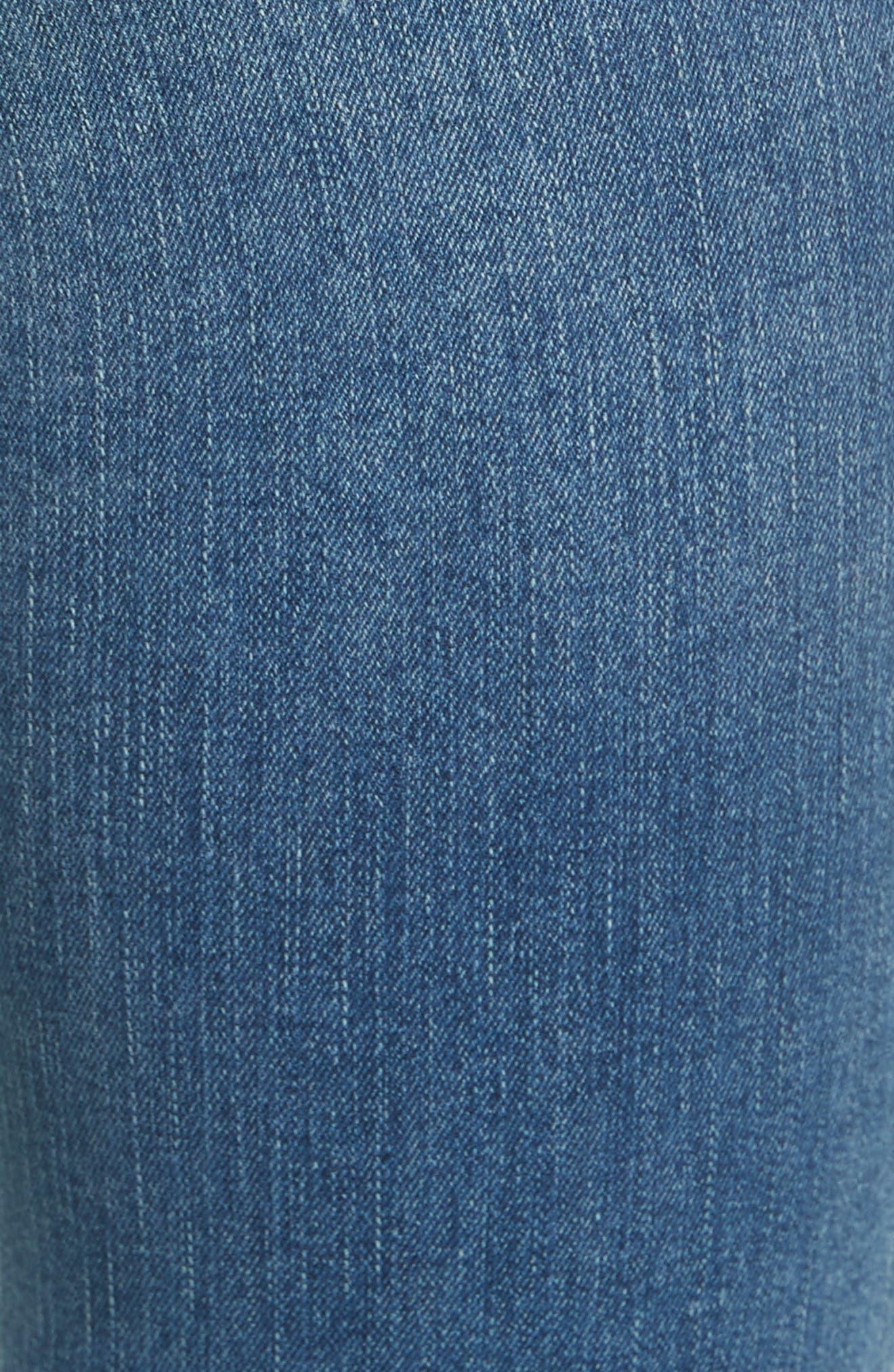 High Waist Crop Straight Leg Jeans,                             Alternate thumbnail 6, color,                             Blue