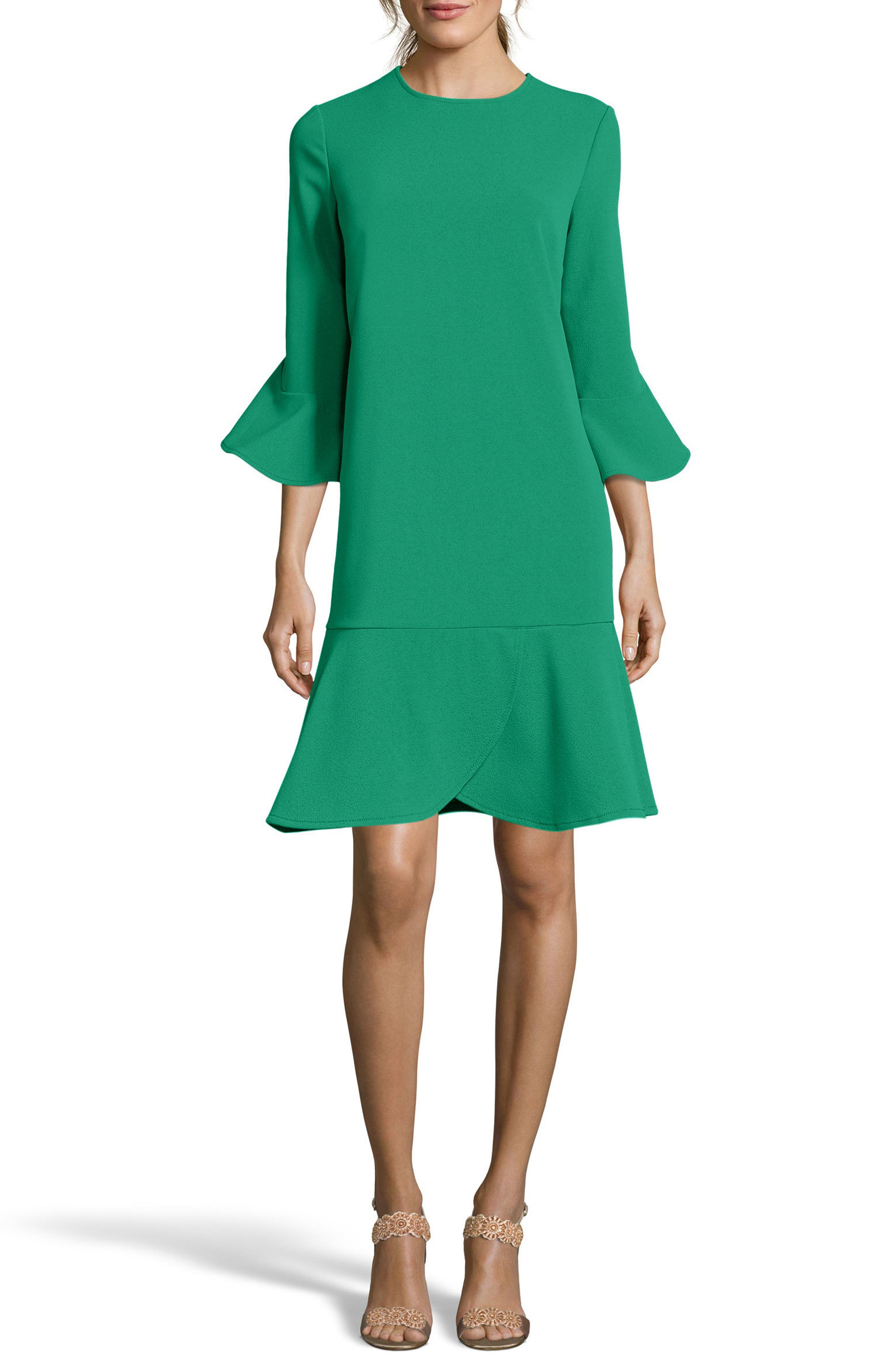 Alternate Image 1 Selected - ECI Ruffle Bell Sleeve Shift Dress