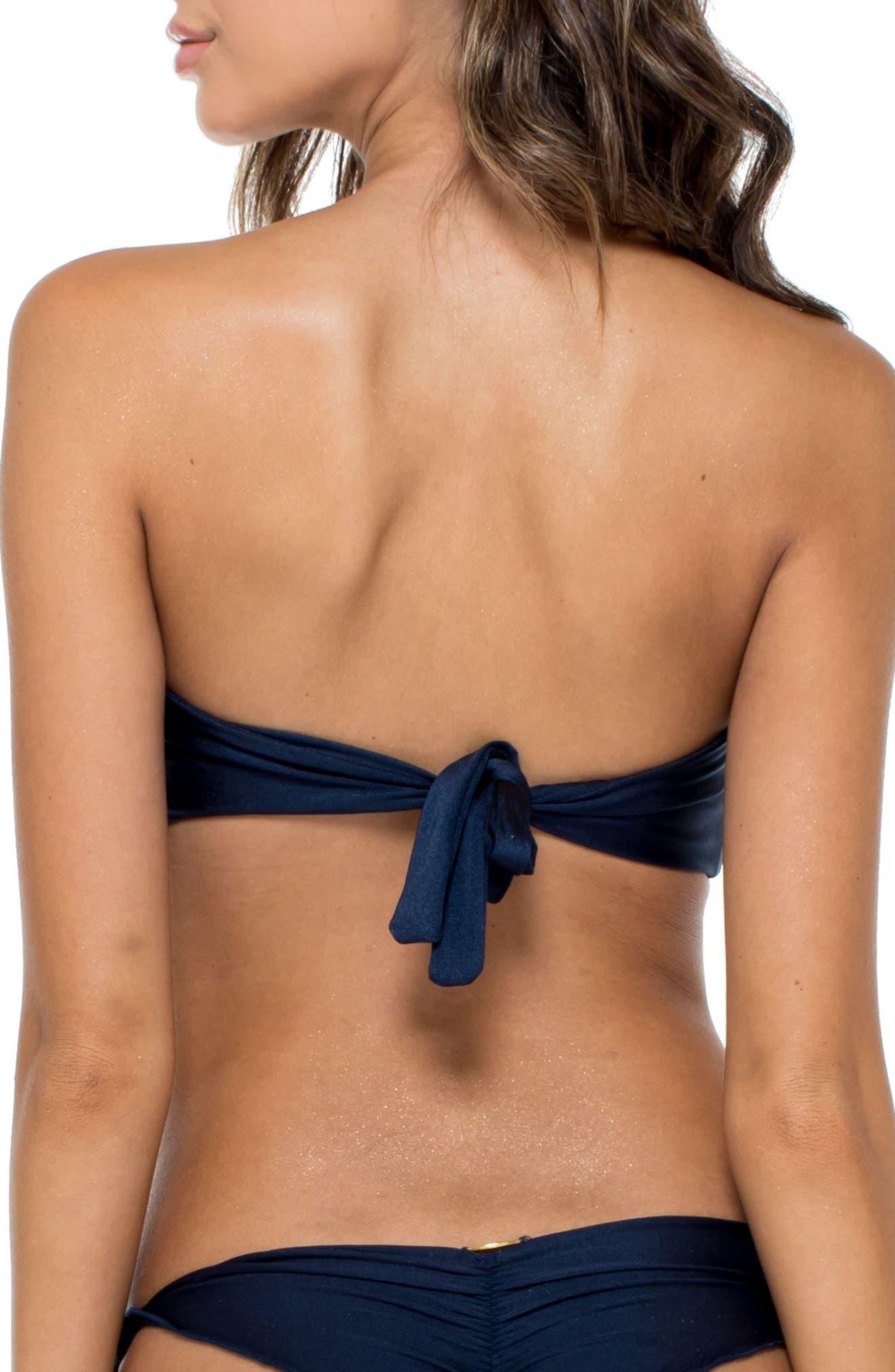 Lace-Up Grommet Bandeau Bikini Top,                             Alternate thumbnail 2, color,                             Marino Blue