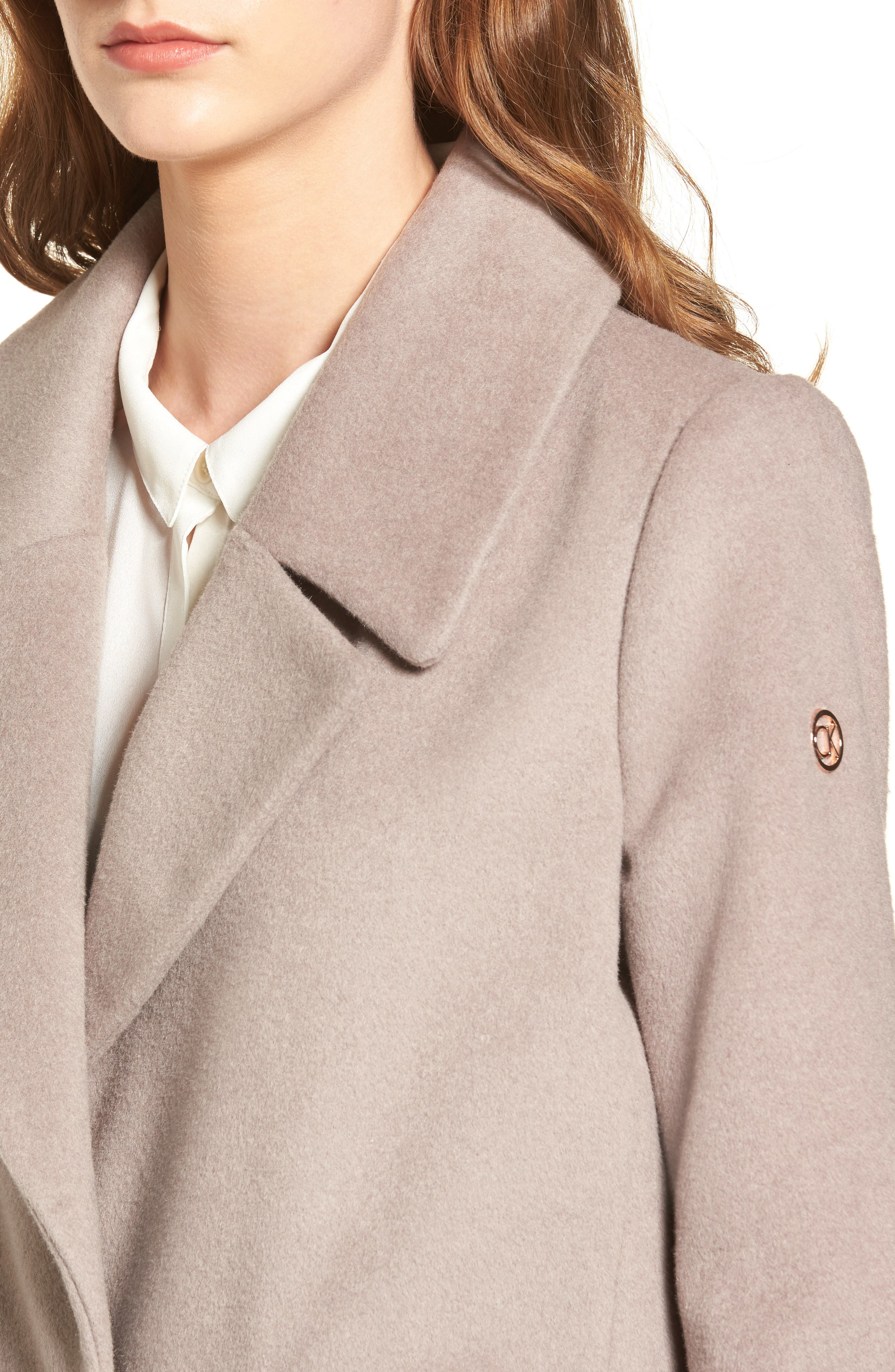 Wool & Down Reefer Coat,                             Alternate thumbnail 5, color,                             Thistle