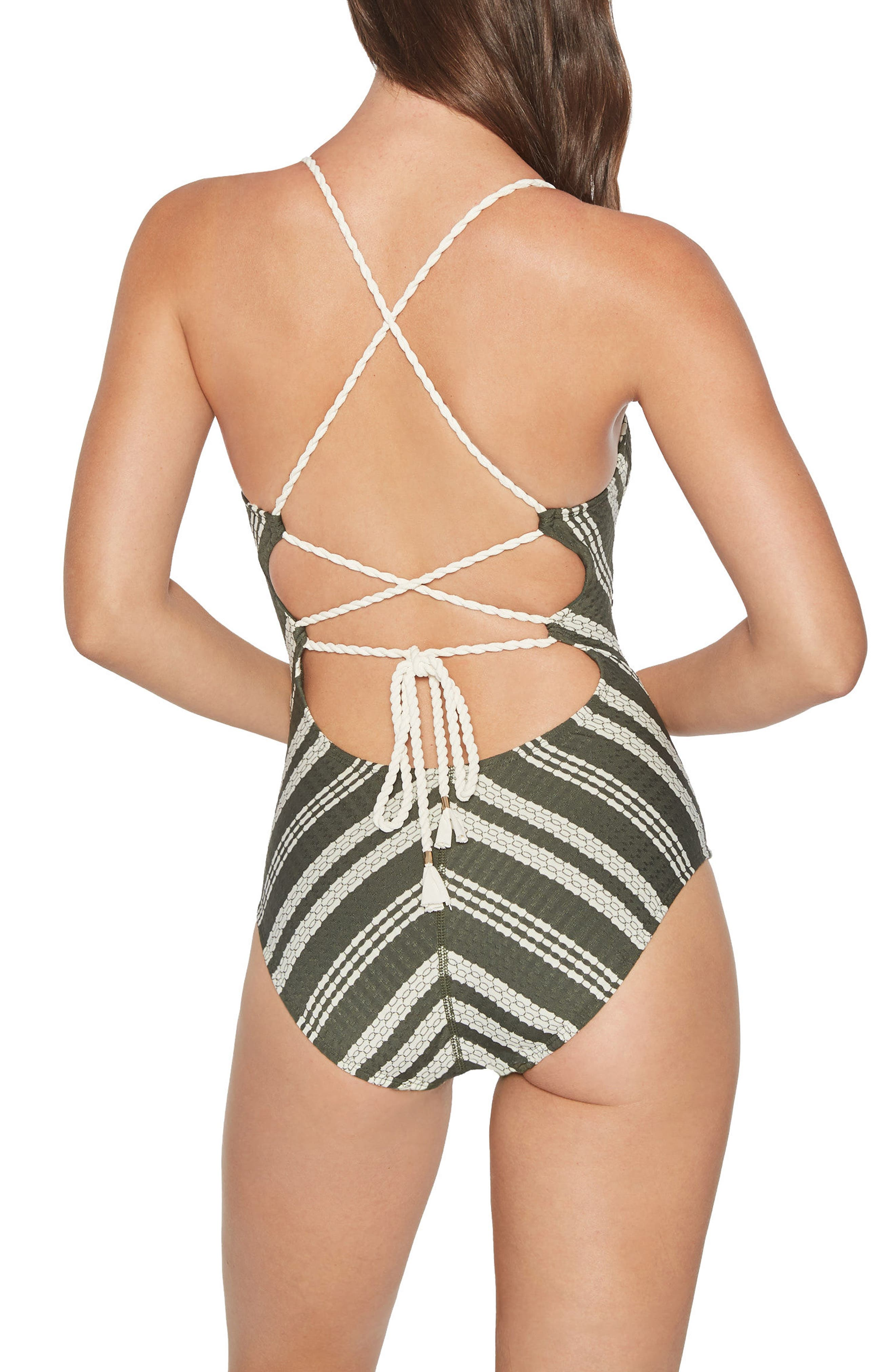 Livvy One-Piece Swimsuit,                             Alternate thumbnail 2, color,                             Deep Forest