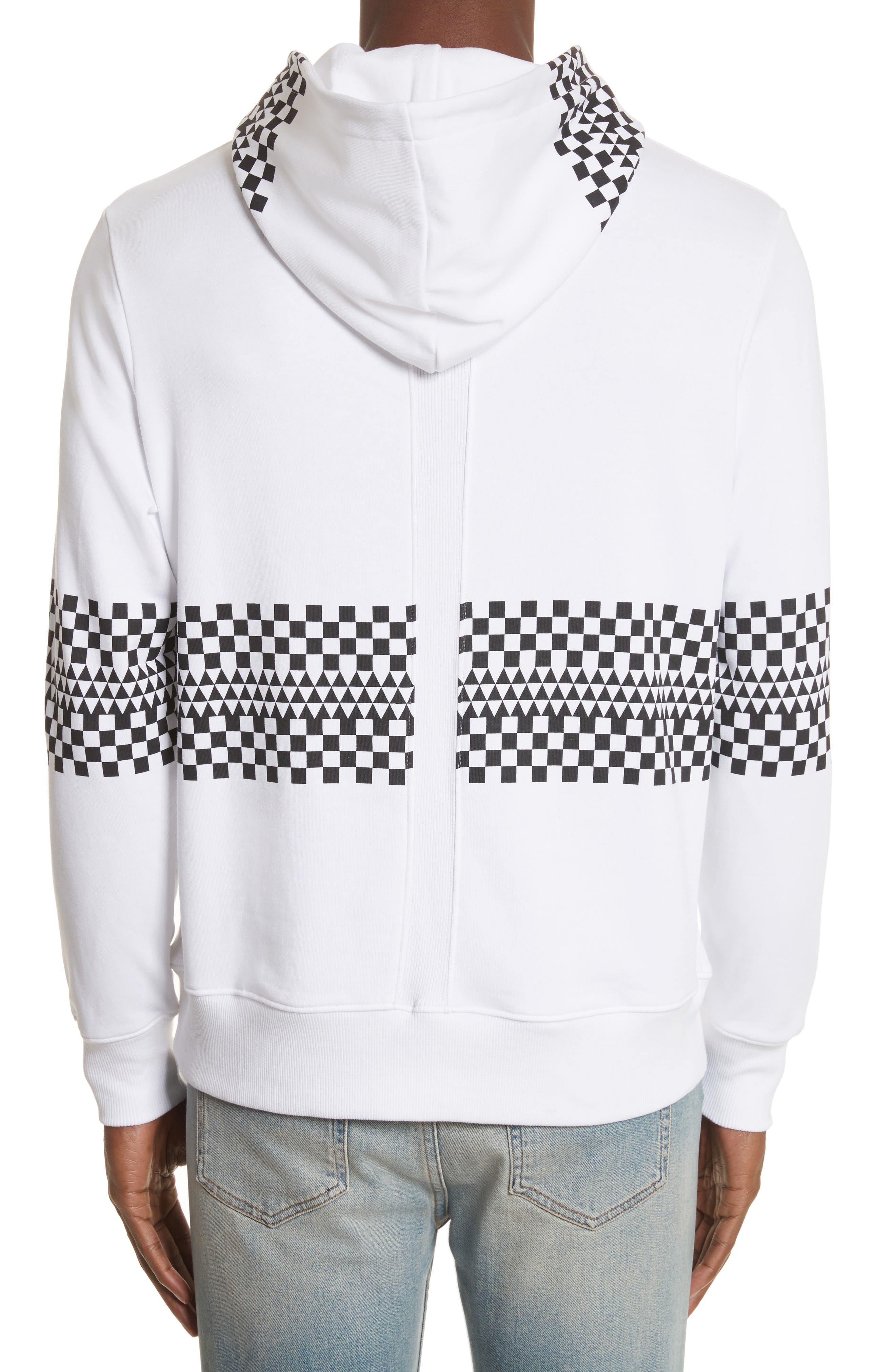 Type-01 Check Print Hoodie,                             Alternate thumbnail 2, color,                             White/ Black