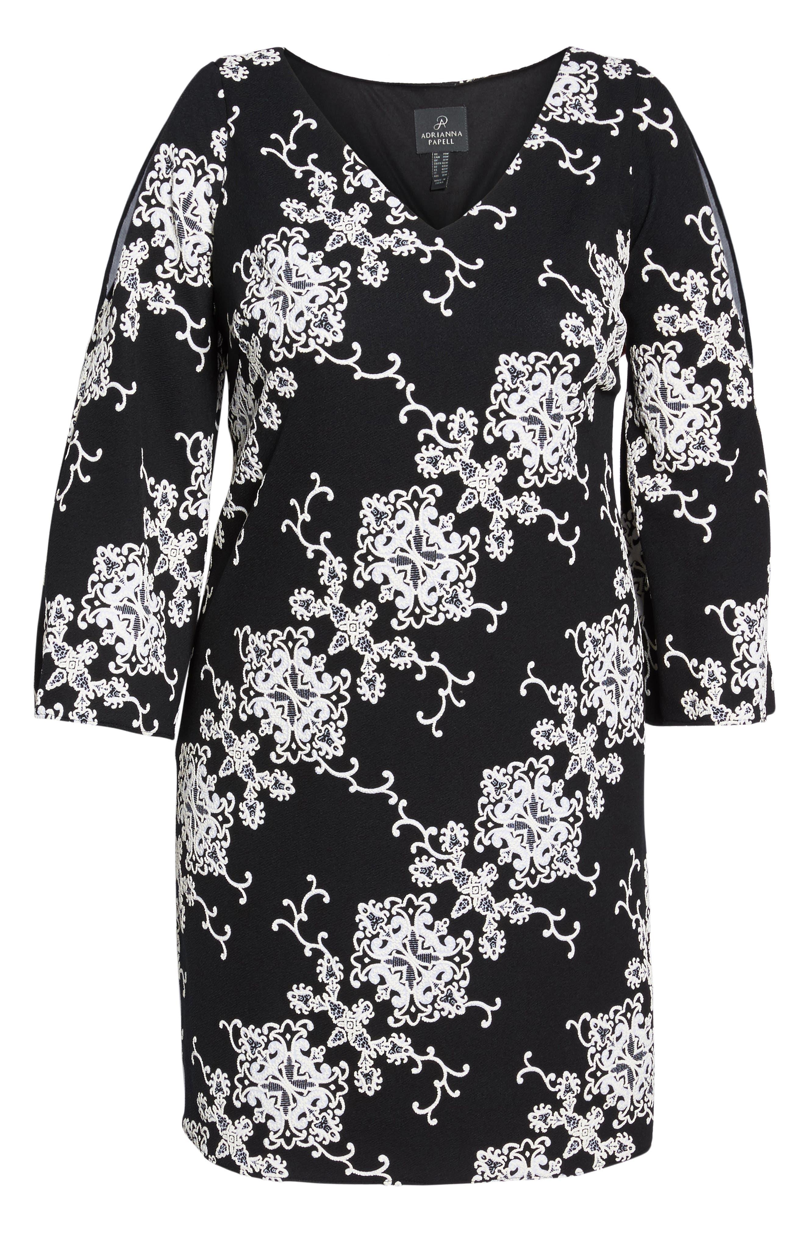 Split Sleeve Shift Dress,                             Alternate thumbnail 6, color,                             Black/ Ivory