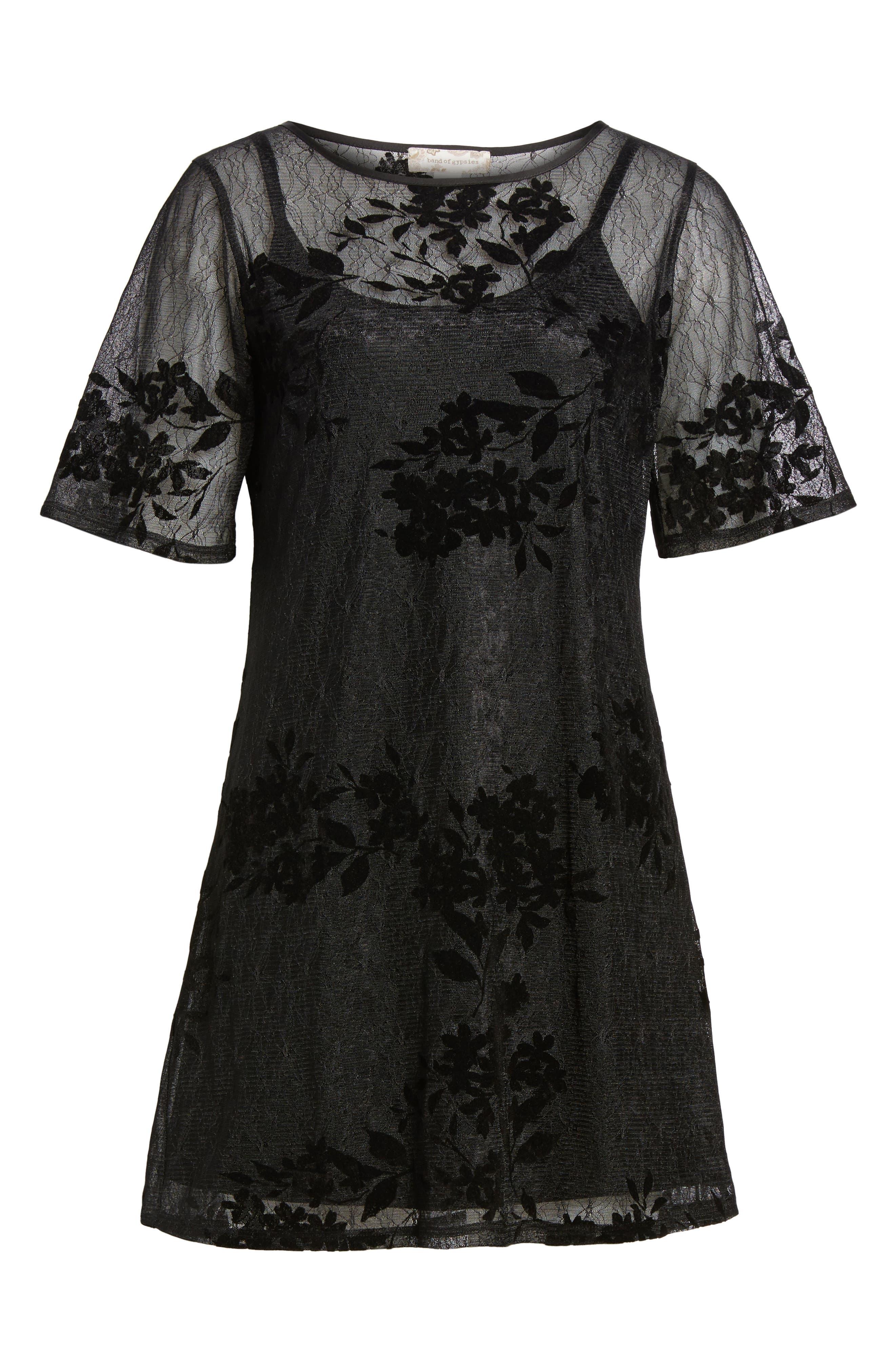 Flocked Lace A-Line Dress,                             Alternate thumbnail 6, color,                             Black Lace