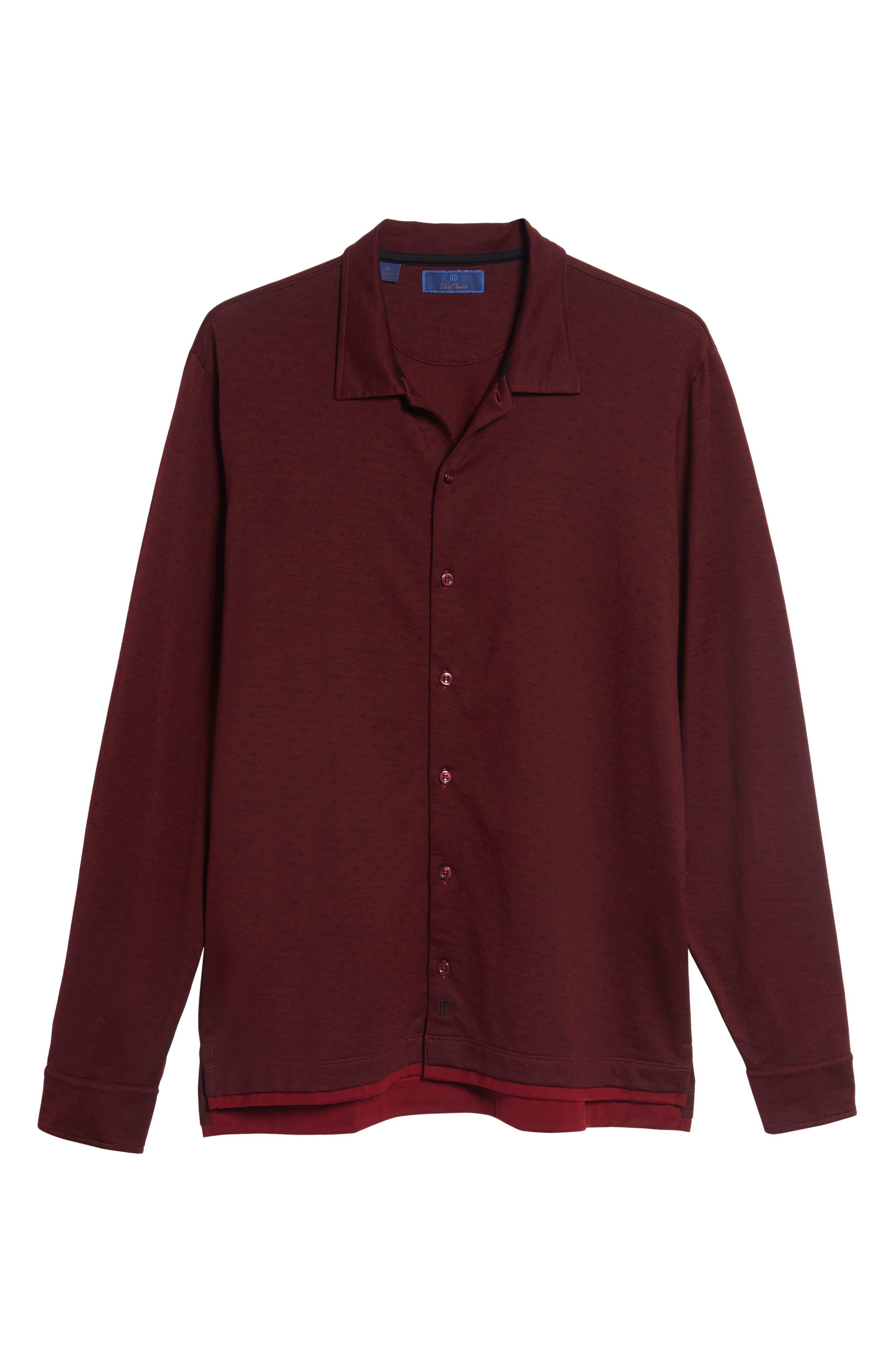 Alternate Image 6  - David Donahue Jacquard Knit Sport Shirt