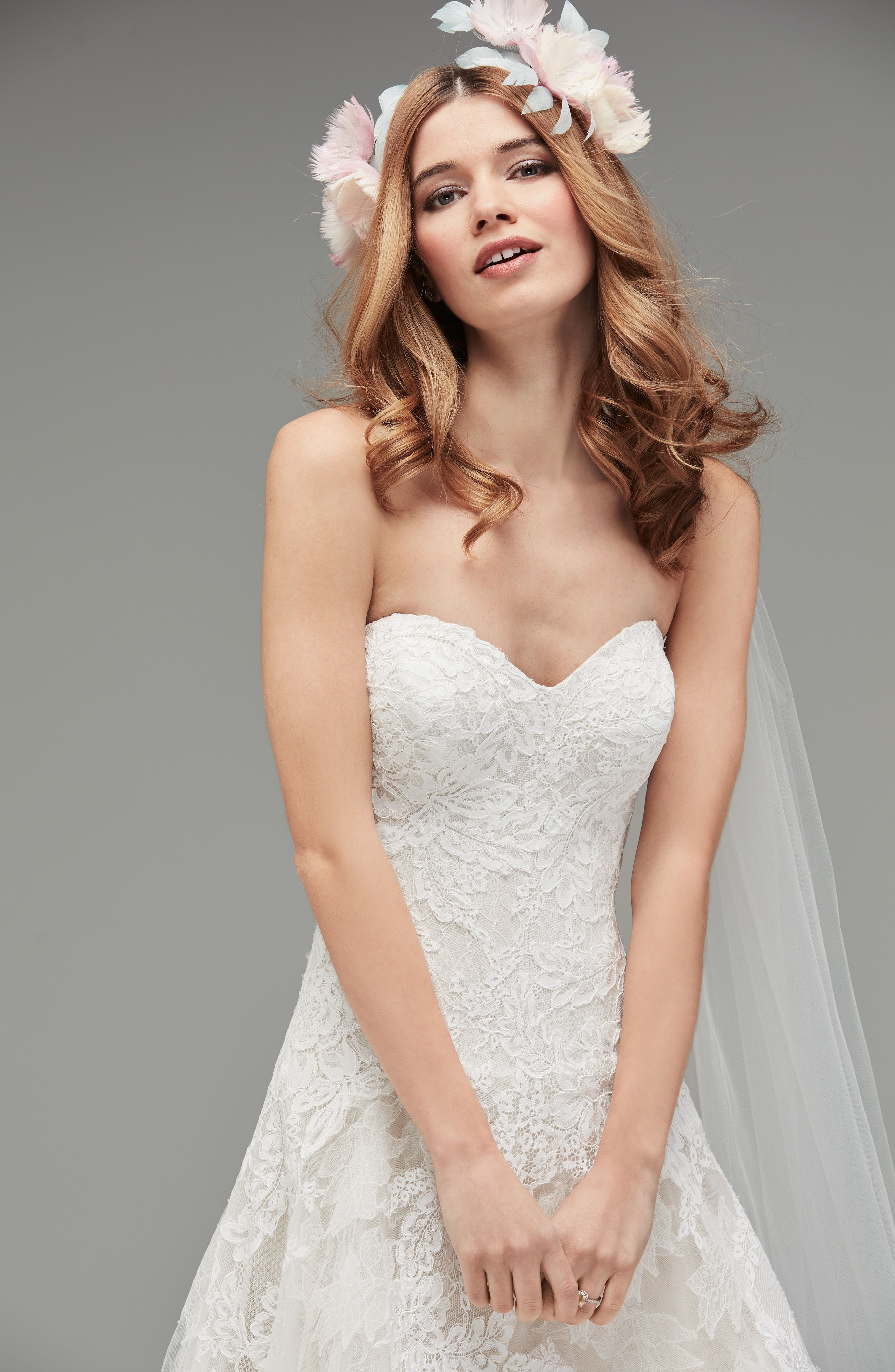 Lyric Strapless Lace Drop Waist Gown,                             Alternate thumbnail 3, color,                             Ivory/Nude