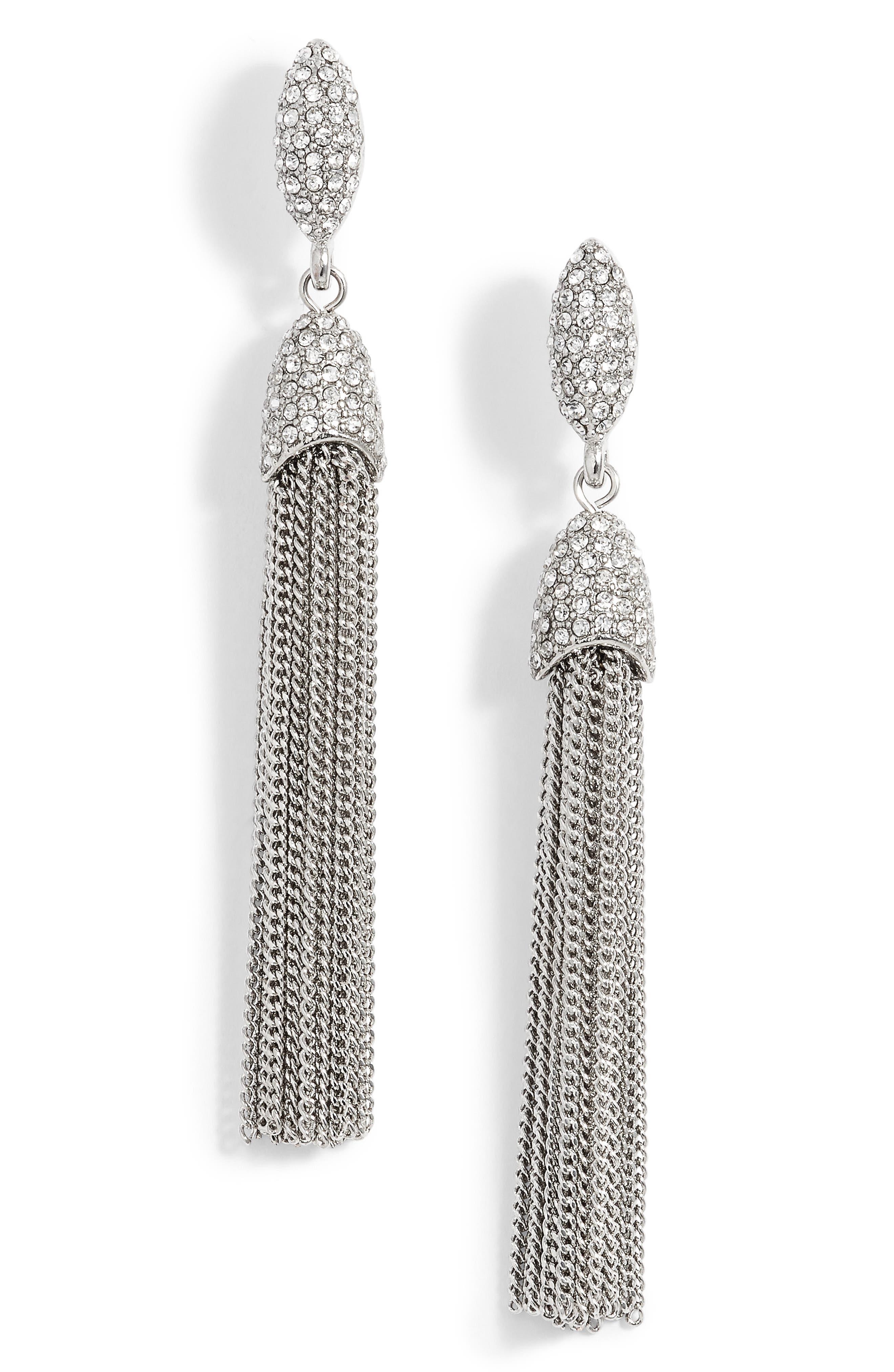 Chain Tassel Drop Earrings,                             Main thumbnail 1, color,                             Silver