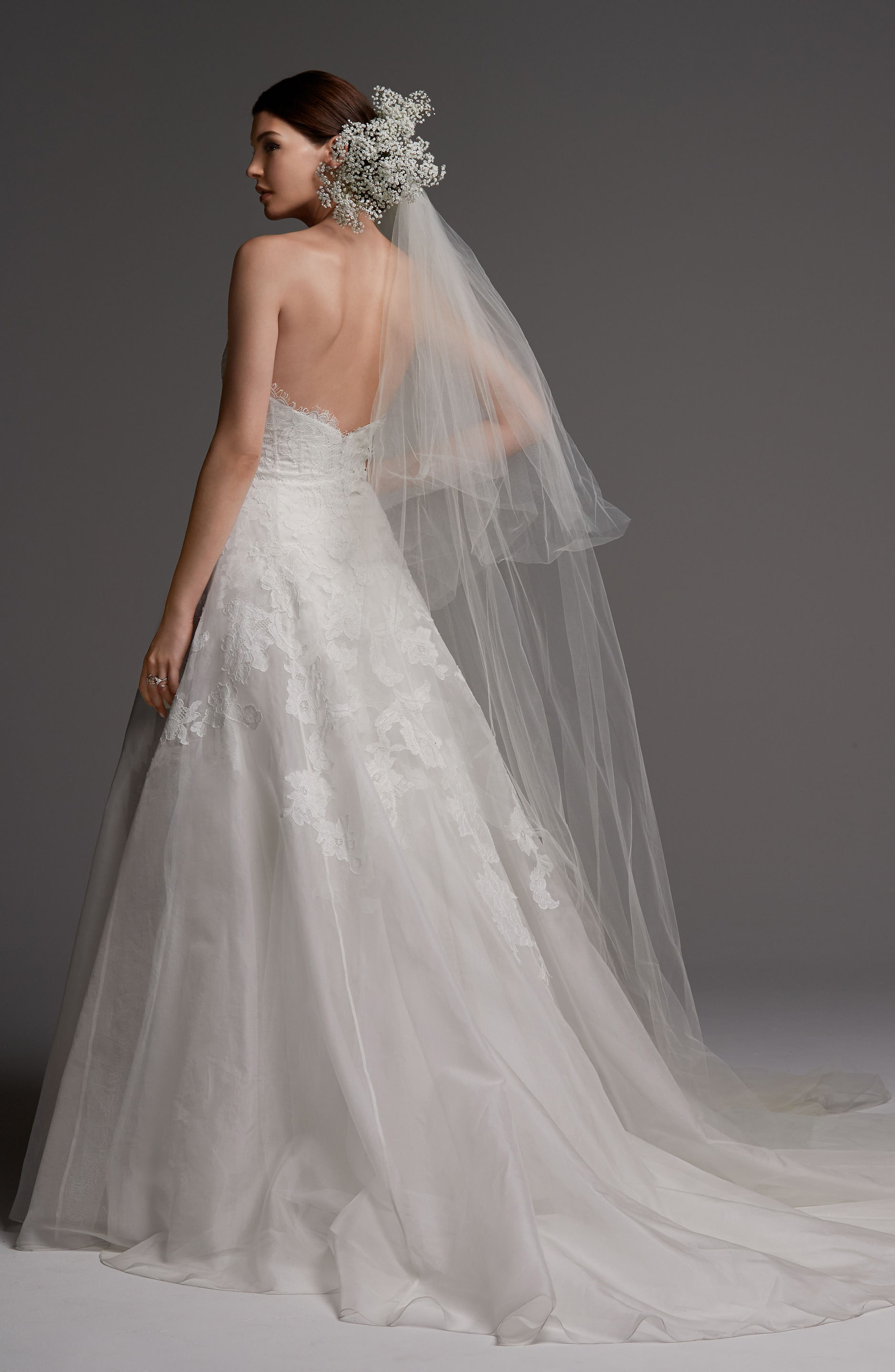 Luxembourg Strapless Lace & Organza Ballgown,                             Alternate thumbnail 2, color,                             Ivory