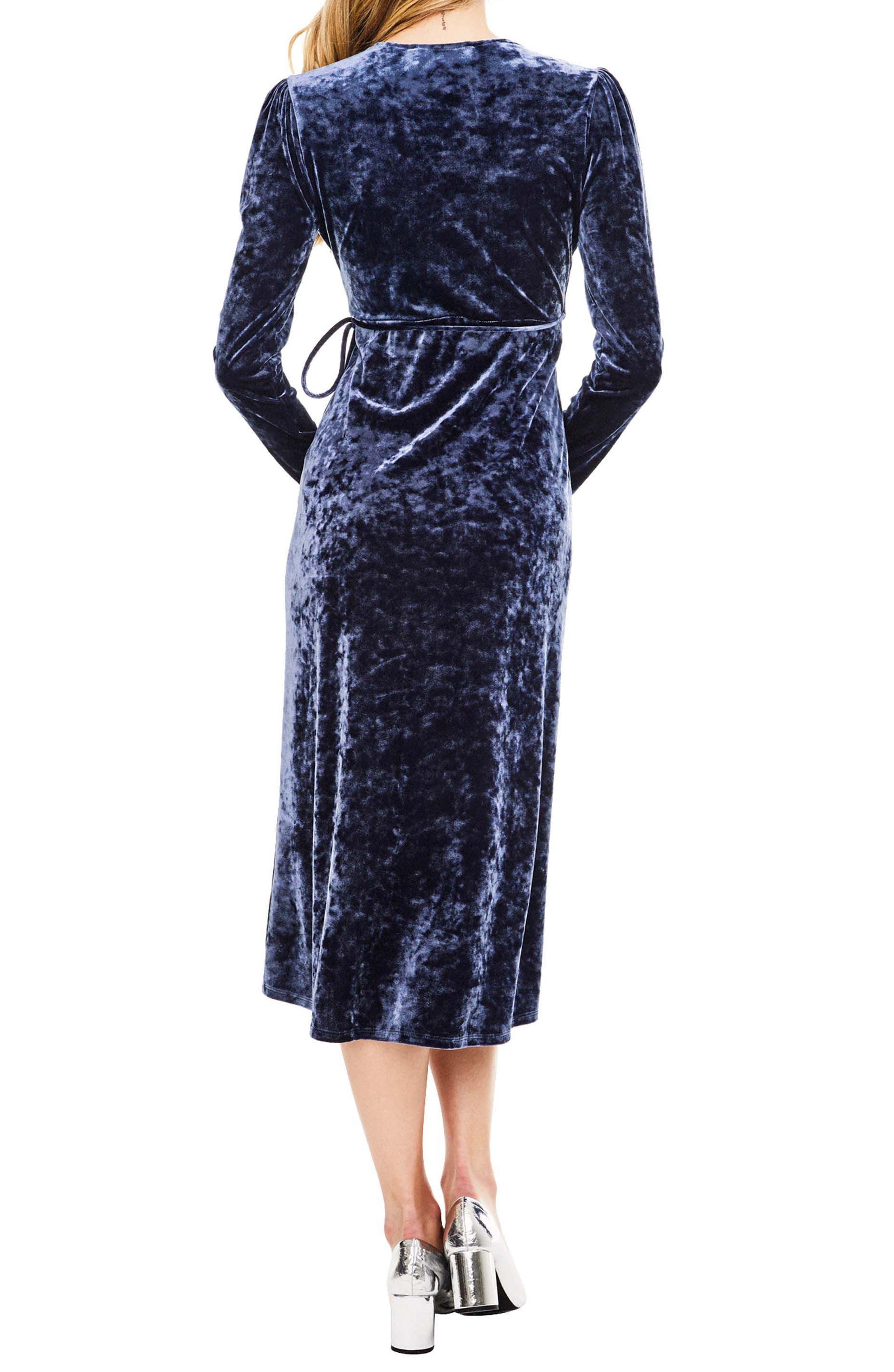 Georgette Wrap Dress,                             Alternate thumbnail 2, color,                             Sapphire
