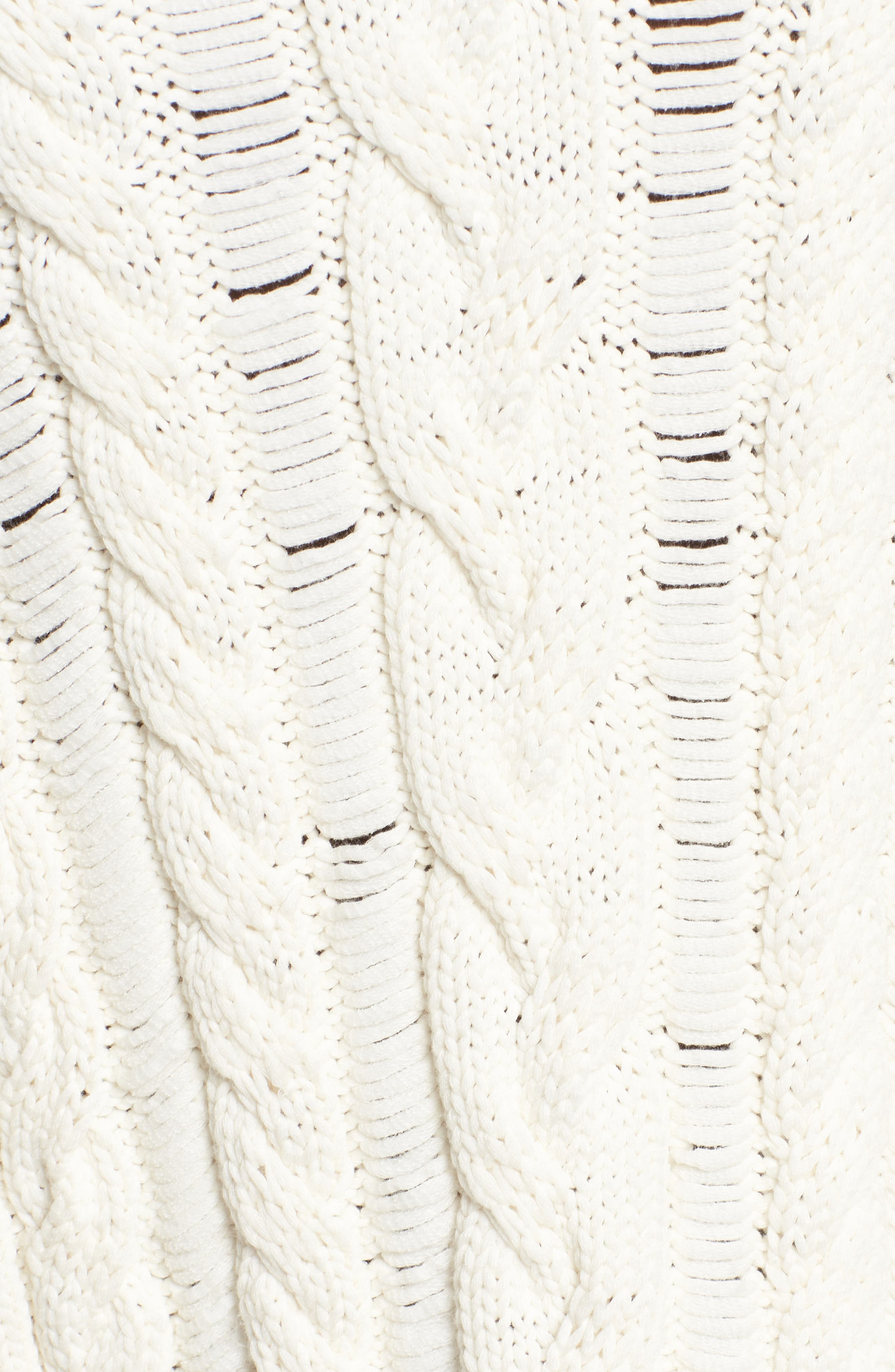 Ruffle Sleeve Cable Knit Sweater,                             Alternate thumbnail 5, color,                             Just For Kicks/ Ivory
