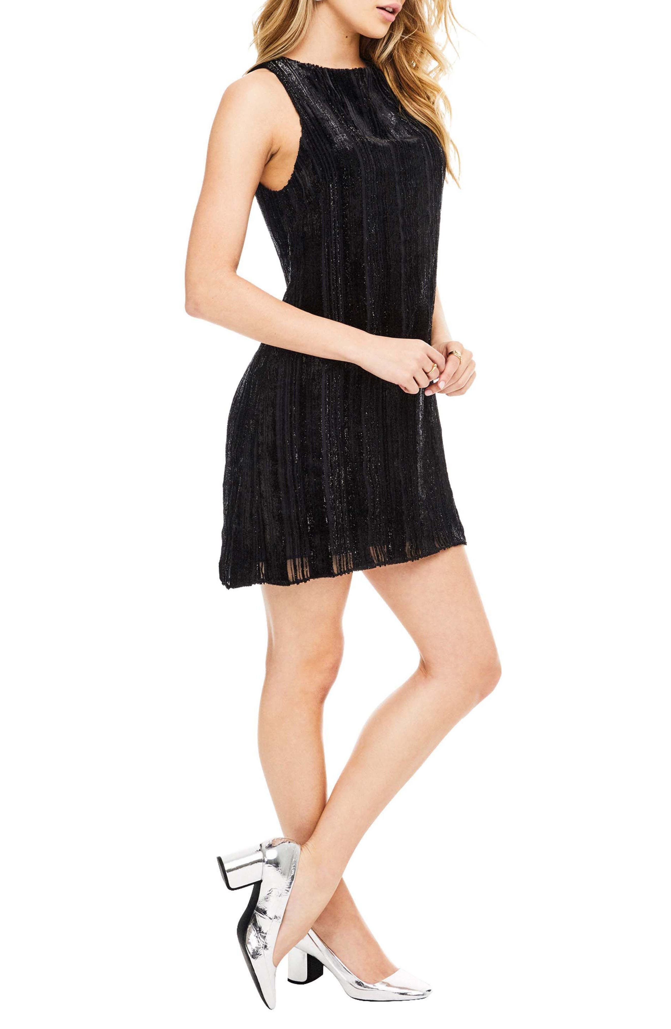 Molly Minidress,                             Alternate thumbnail 3, color,                             Black Velvet Stripe