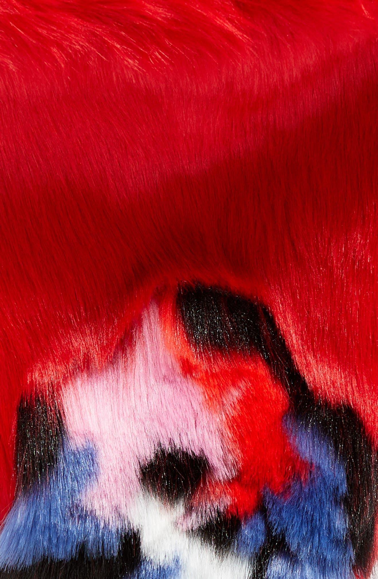 Triangle Faux Fur Scarf,                             Alternate thumbnail 4, color,                             Floral Fur