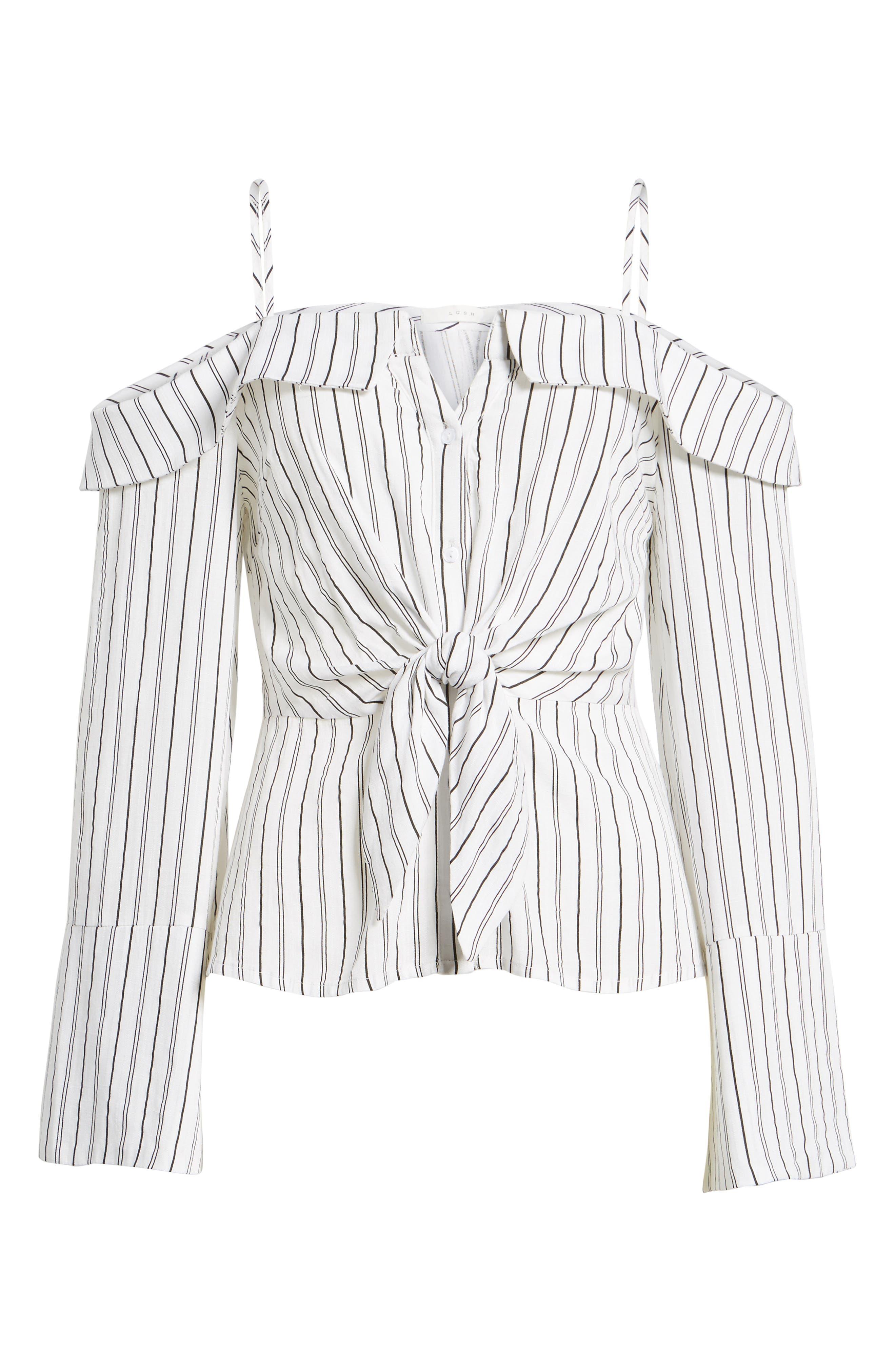 Alternate Image 6  - Stripe Tie Waist Off the Shoulder Shirt