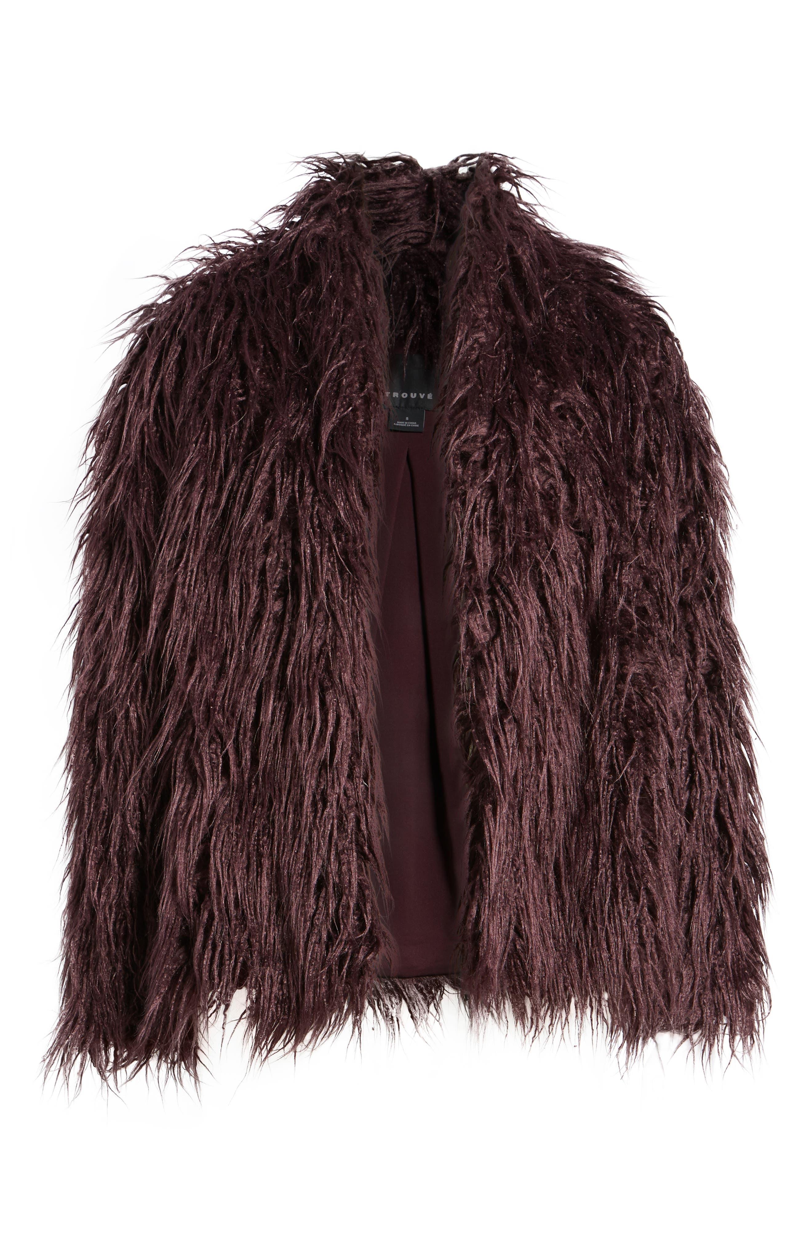 Shaggy Faux Fur Jacket,                             Alternate thumbnail 6, color,                             Burgundy Stem