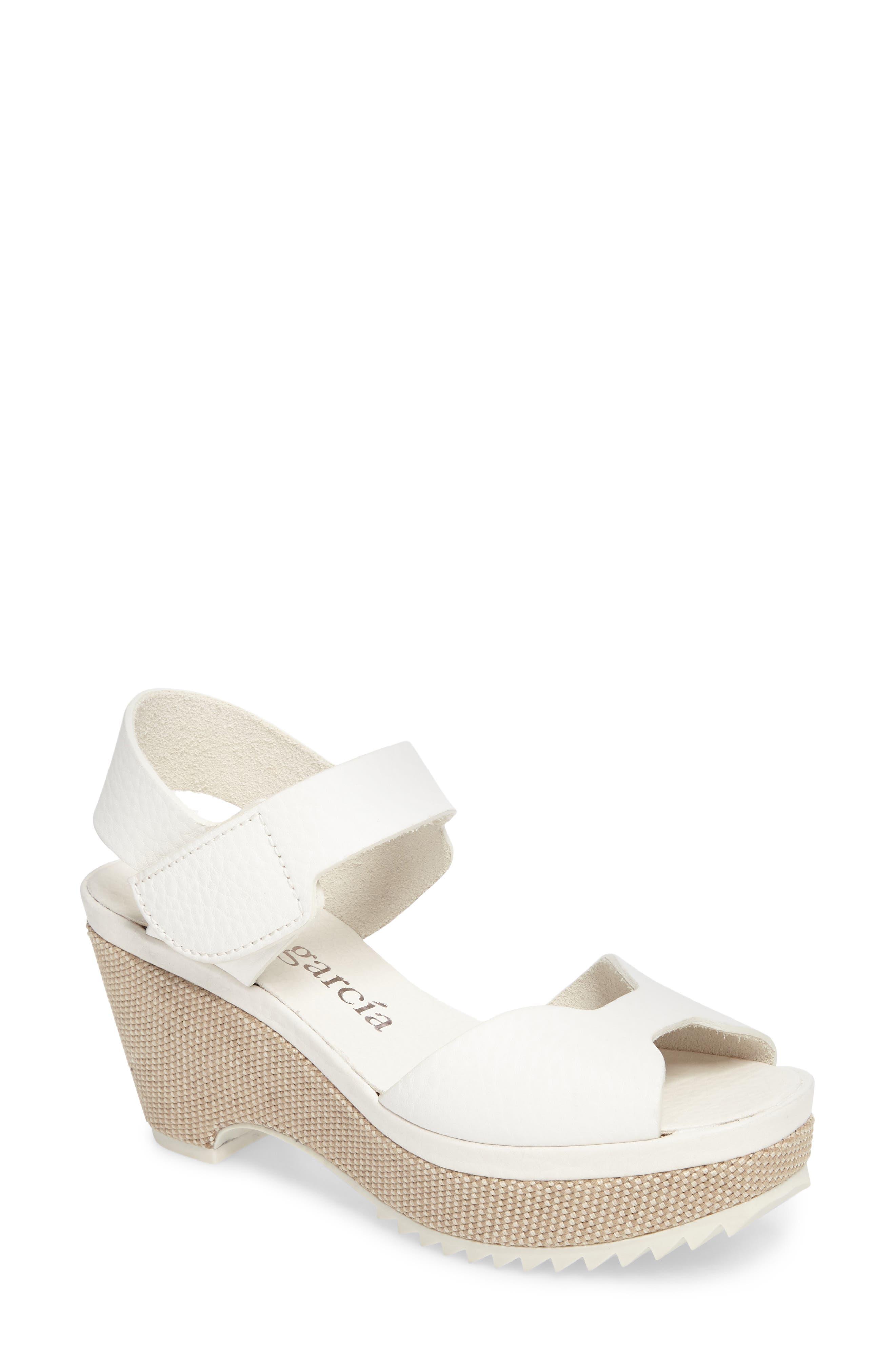 Fah Wedge Sandal,                         Main,                         color, White Cervo