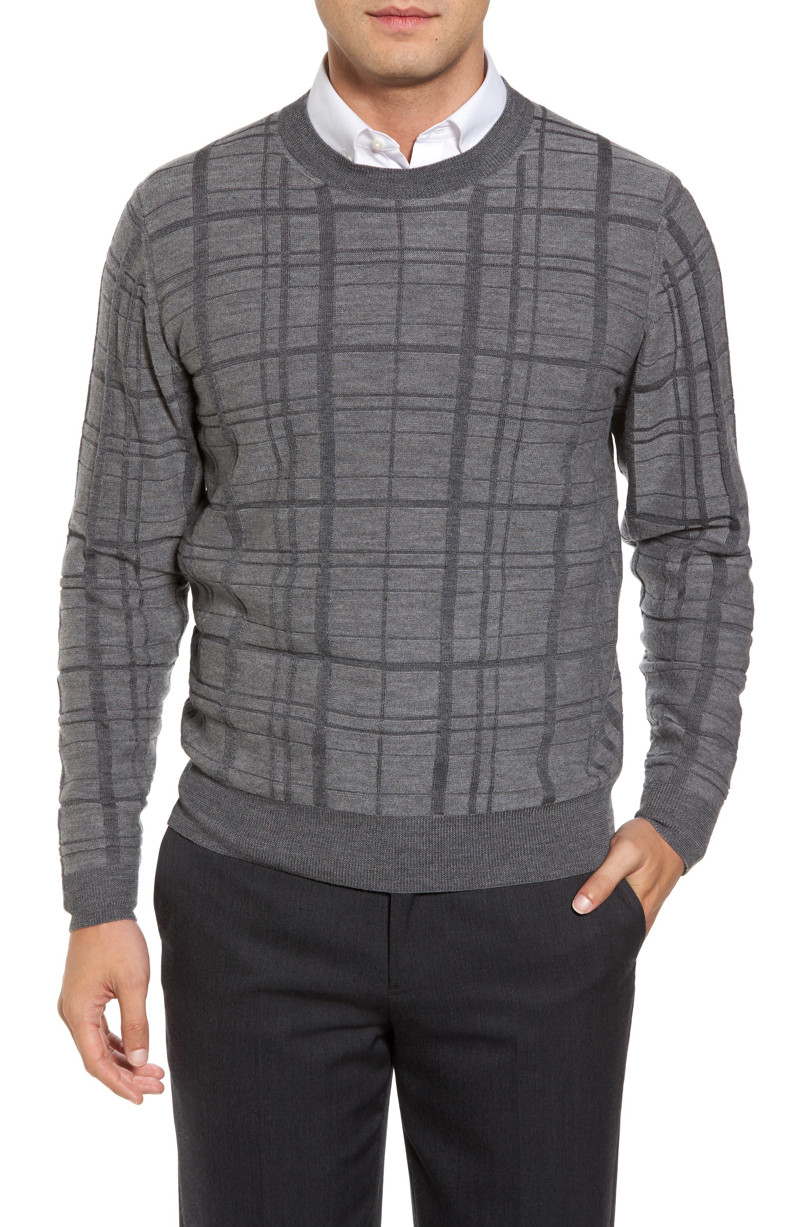 Alternate Image 1 Selected - Bobby Jones Tonal Grid Wool Sweater