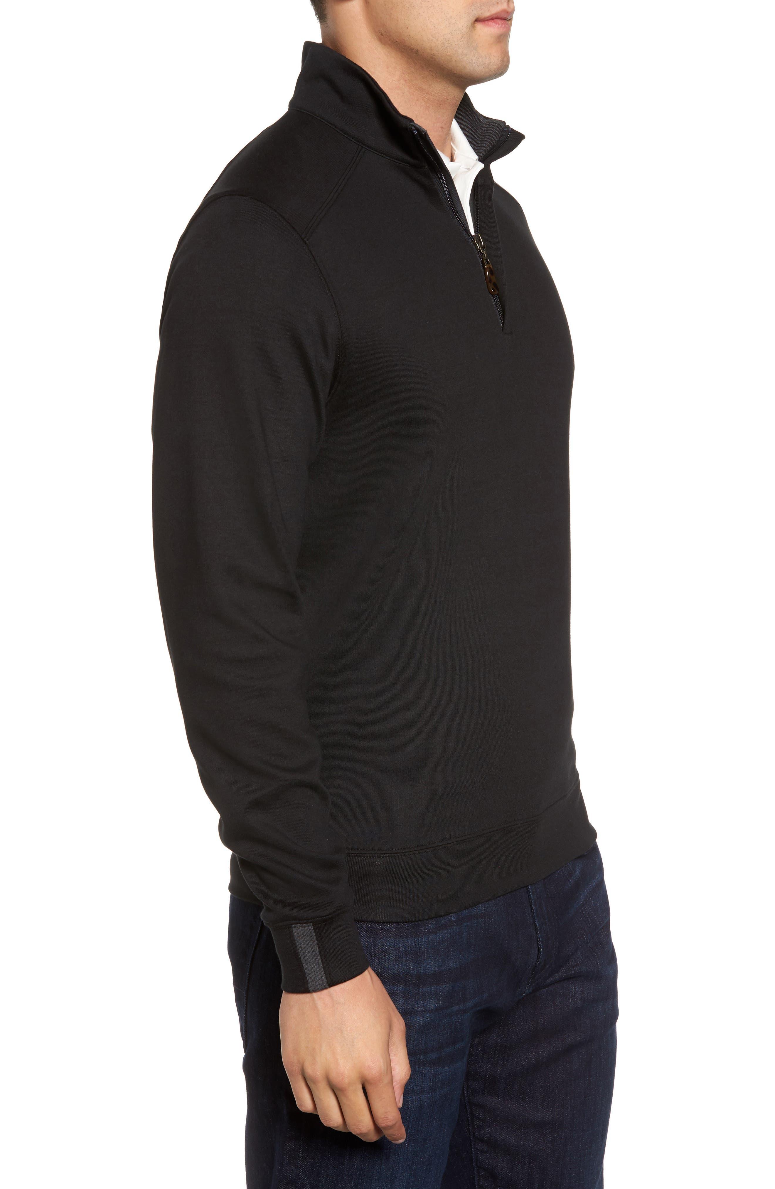 Interlock Knit Quarter Zip Pullover,                             Alternate thumbnail 3, color,                             Black