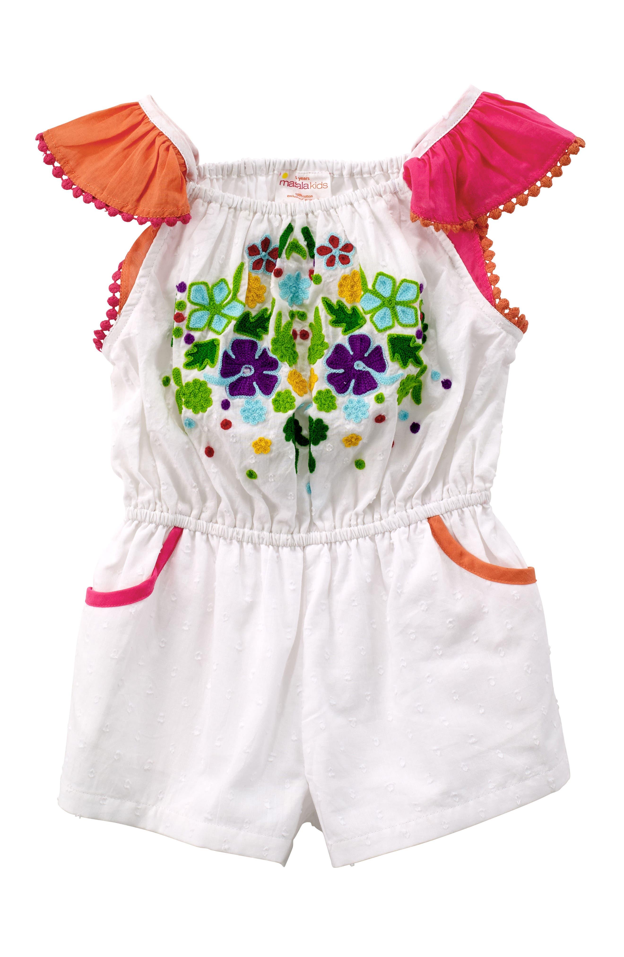 Zuri Embroidered Romper,                         Main,                         color, White