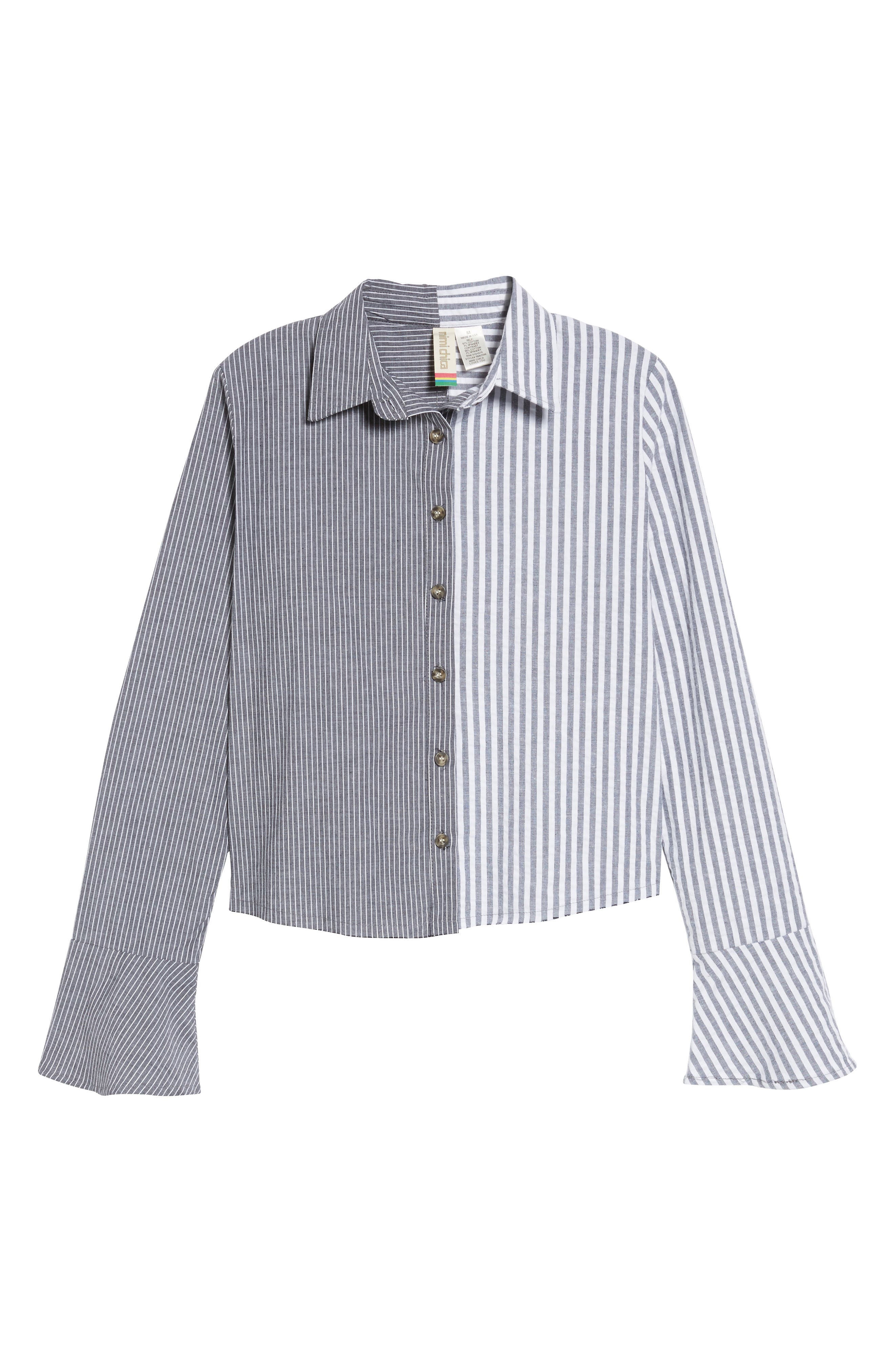 Mismatch Stripe Shirt,                             Alternate thumbnail 6, color,                             Stripe
