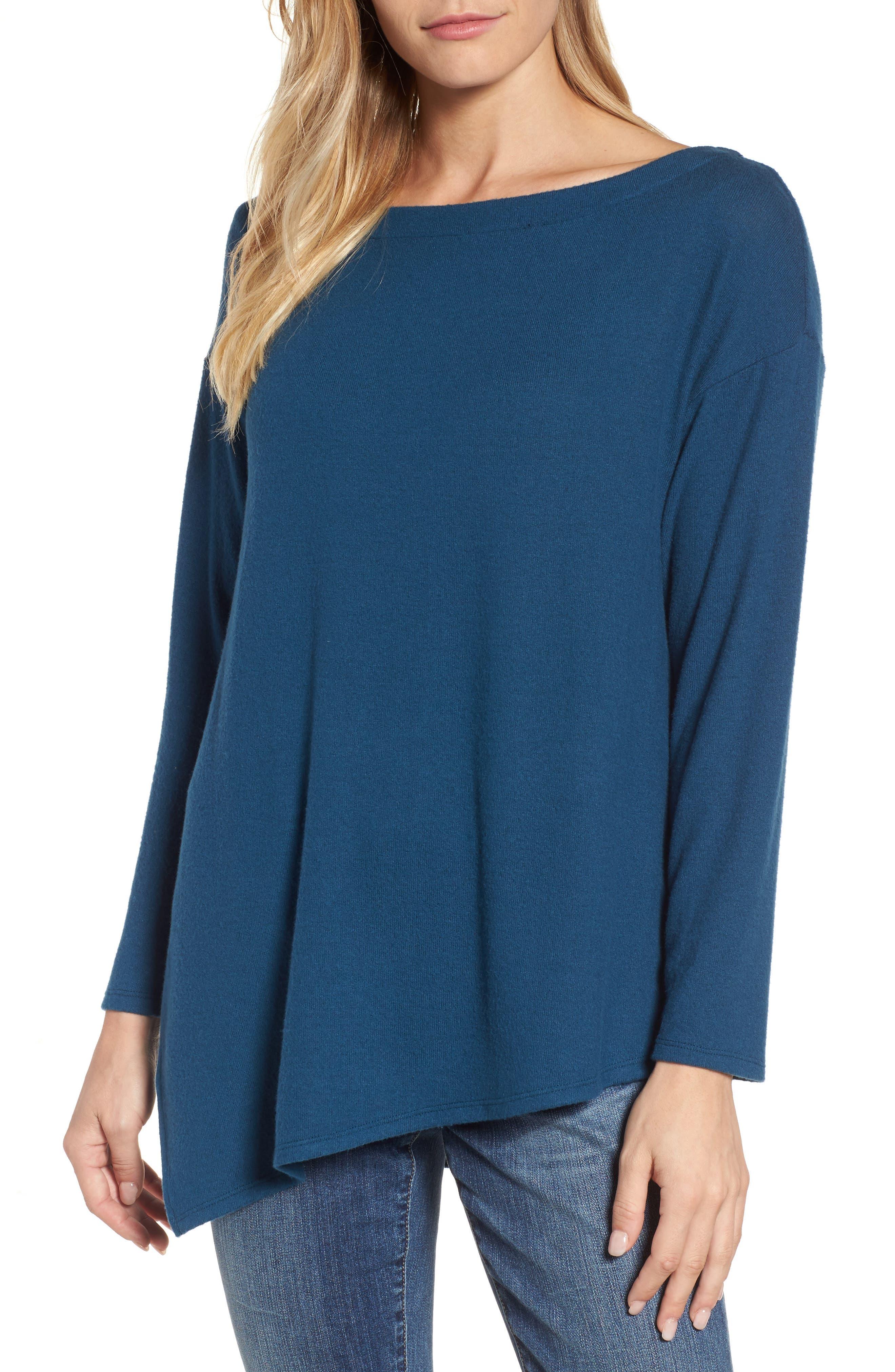 Asymmetrical Cozy Fleece Convertible Top,                         Main,                         color, Blue Ceramic