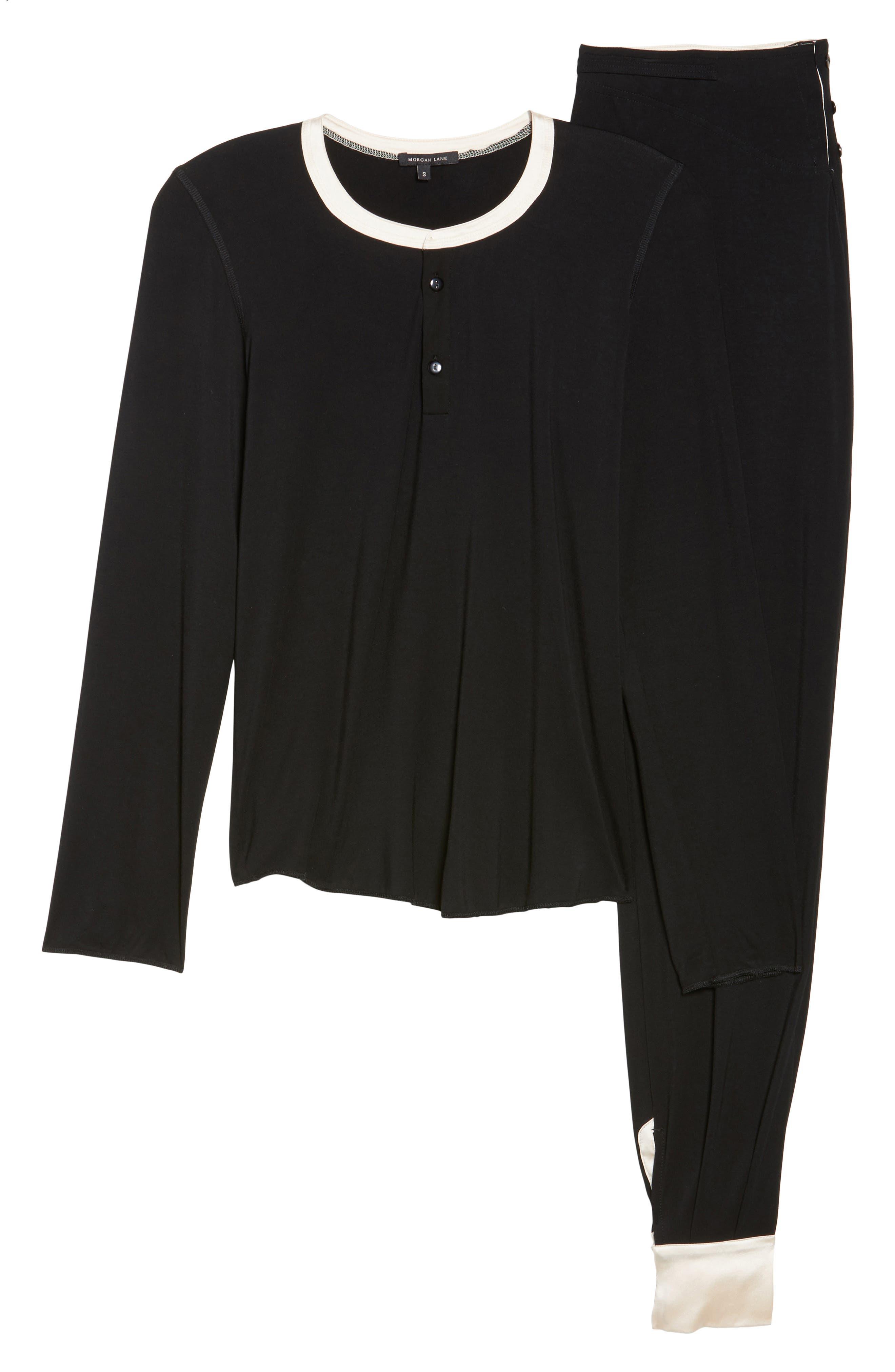 Cara Modal Knit Long Pajamas,                             Alternate thumbnail 4, color,                             Noir/ Vanilla