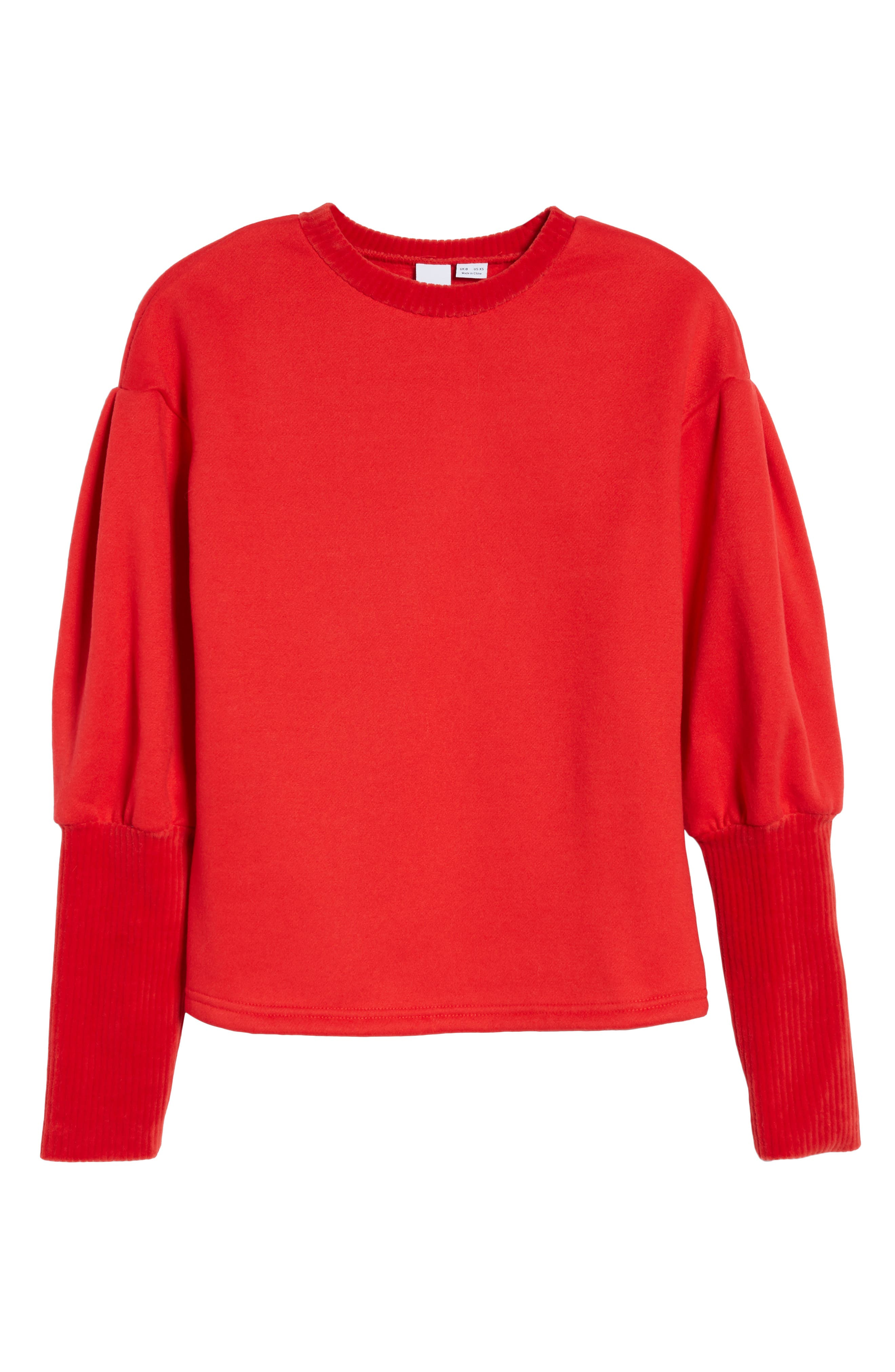 Rib Cuff Sweater,                             Alternate thumbnail 7, color,                             Red