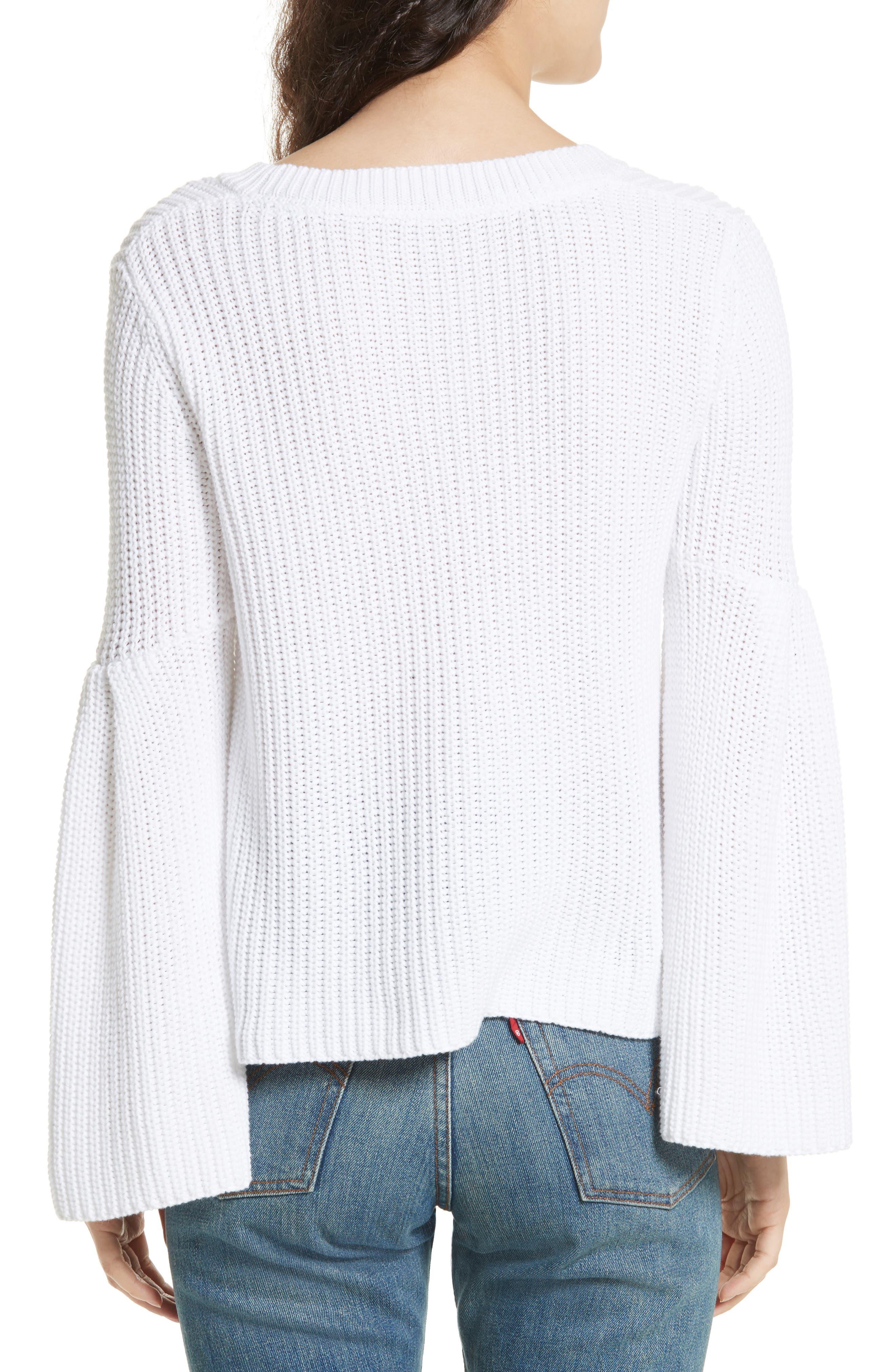 Damsel Bell Sleeve Pullover,                             Alternate thumbnail 2, color,                             White