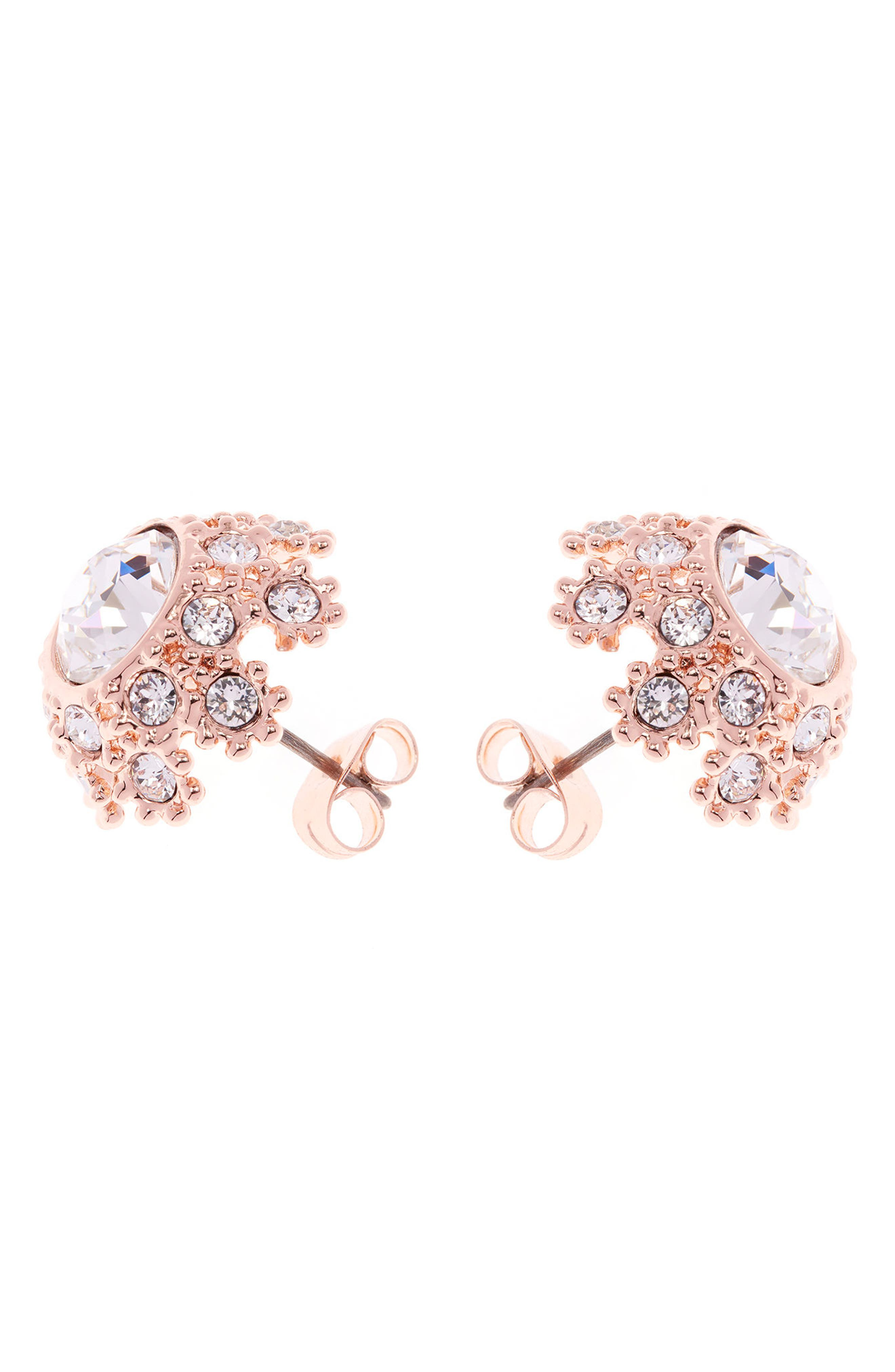 Crystal Daisy Lace Stud Earrings,                             Alternate thumbnail 2, color,                             Pink