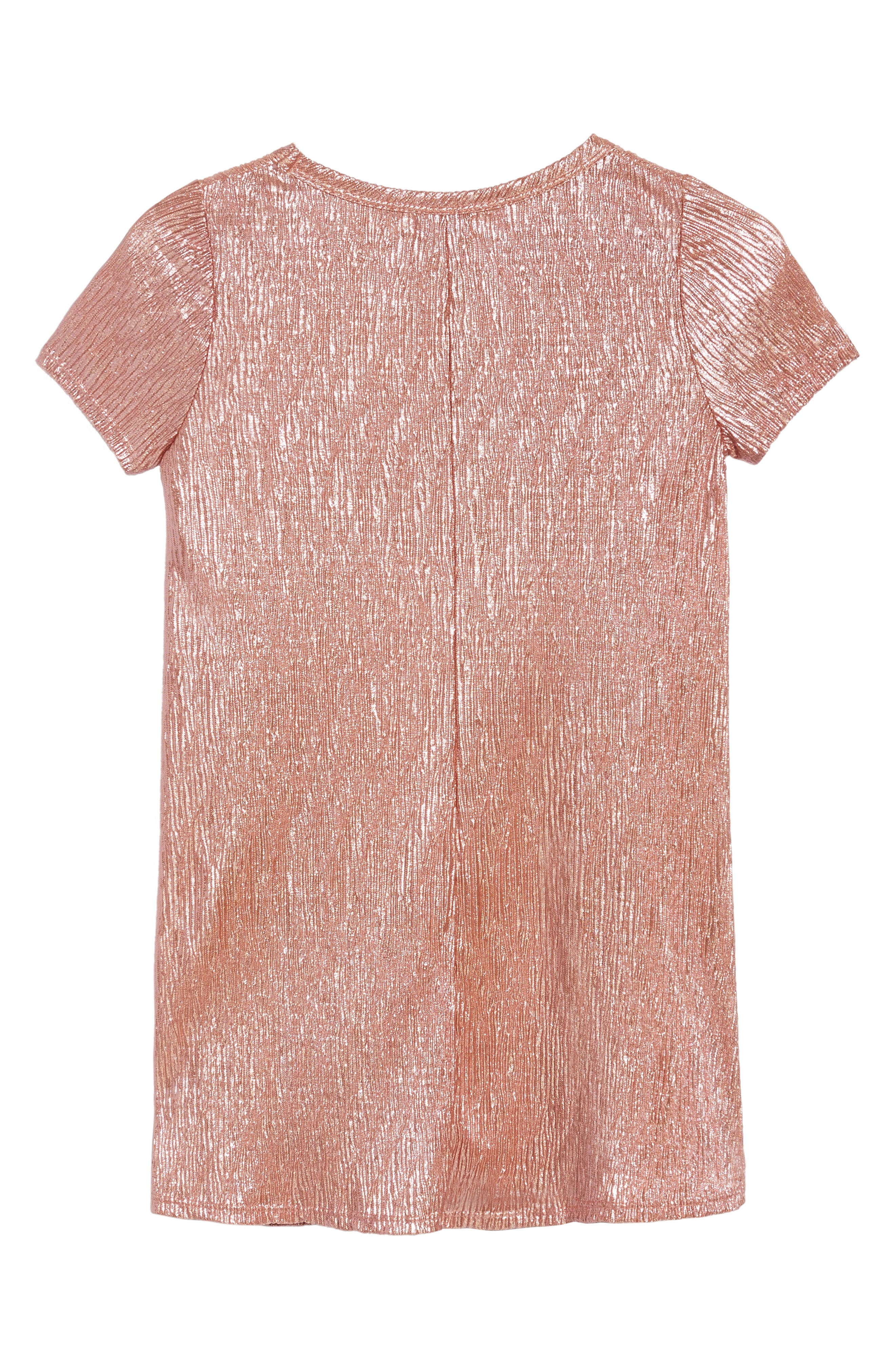 Love Fire Crinkled Metallic T-Shirt Dress,                             Alternate thumbnail 3, color,                             Pink