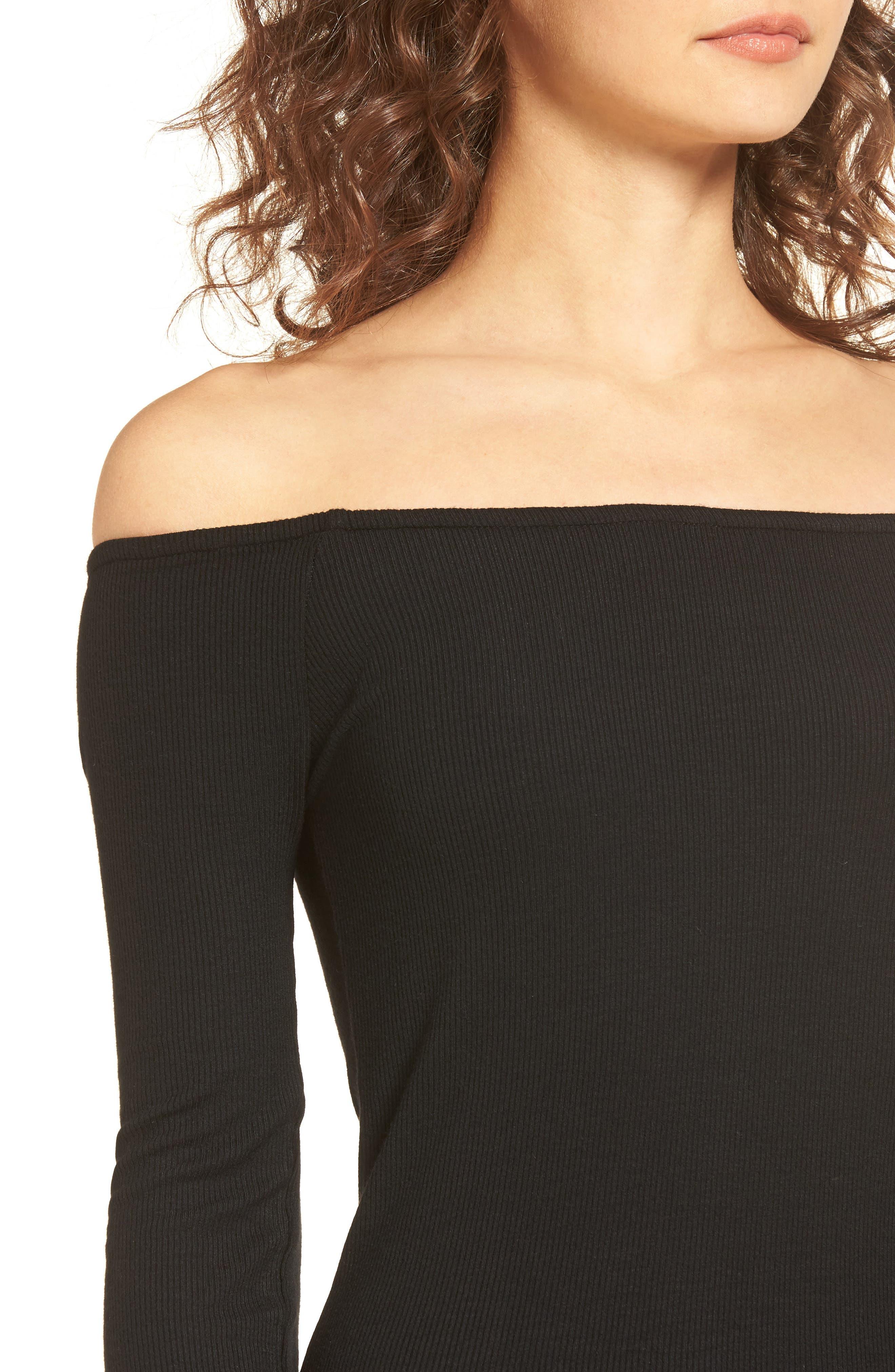 Milo Off the Shoulder Dress,                             Alternate thumbnail 4, color,                             Black