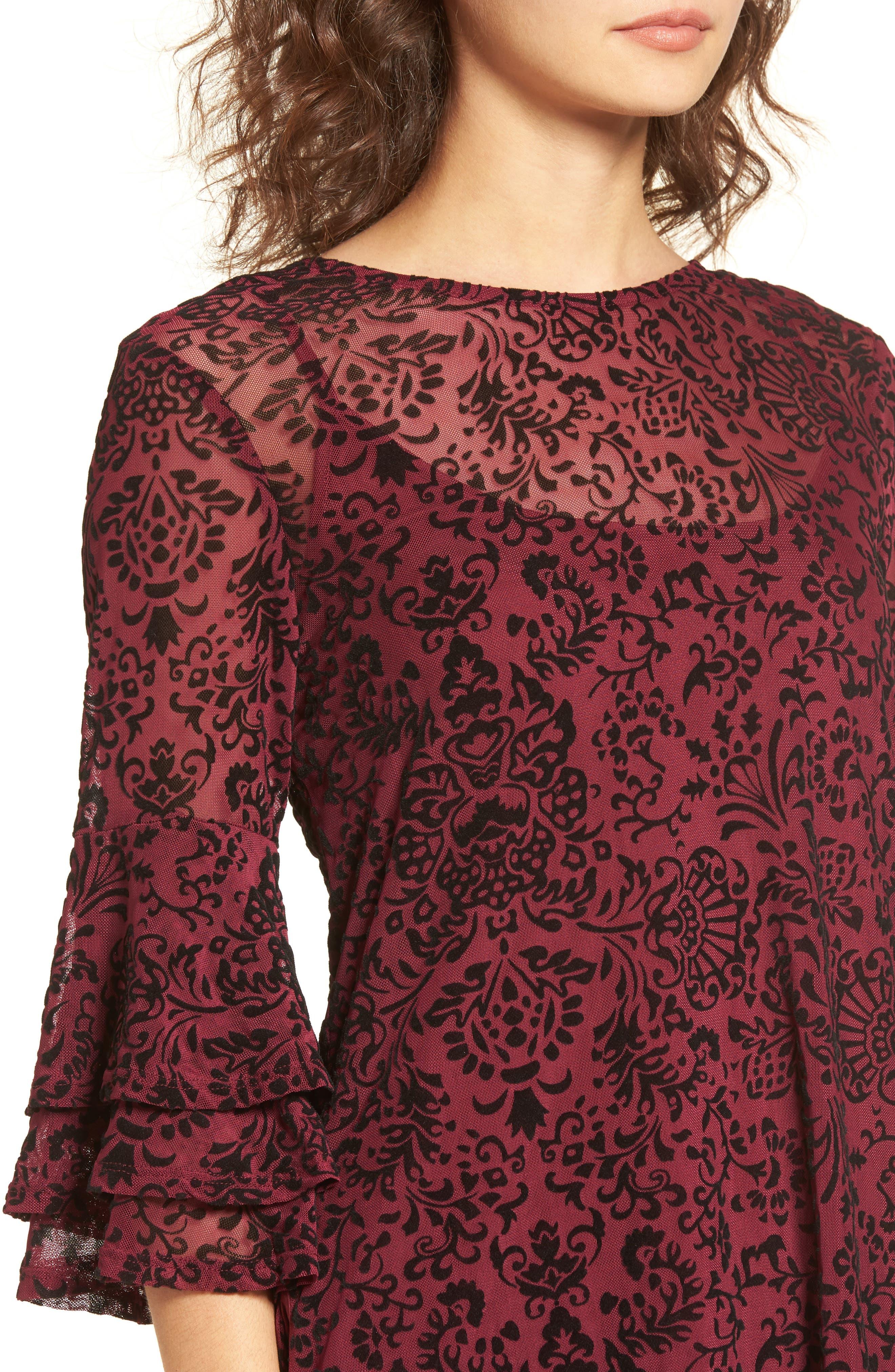 Velvet Detail Minidress,                             Alternate thumbnail 4, color,                             Burgundy/ Black