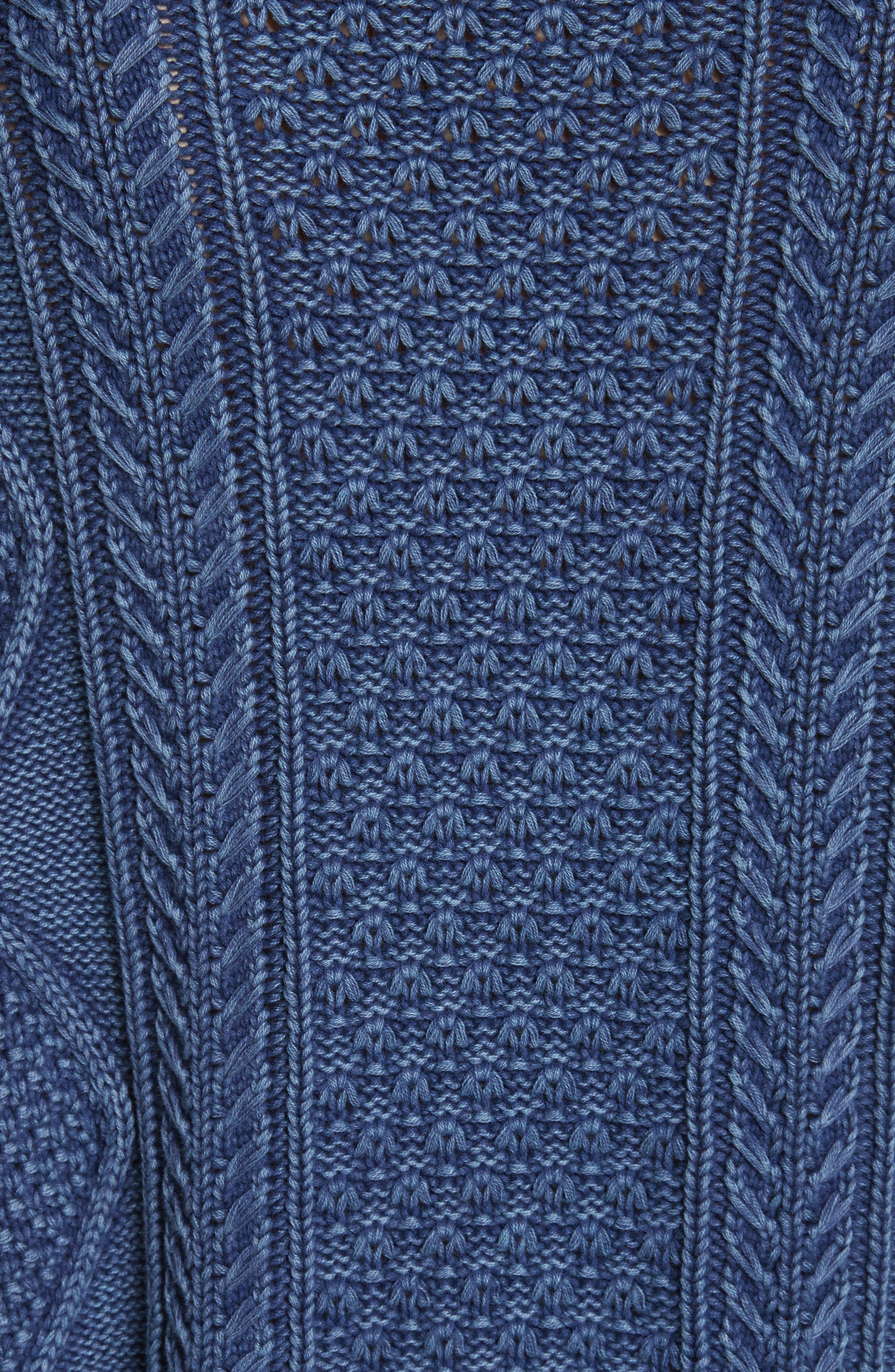 Harper Cable Knit Sweater,                             Alternate thumbnail 5, color,                             Indigo