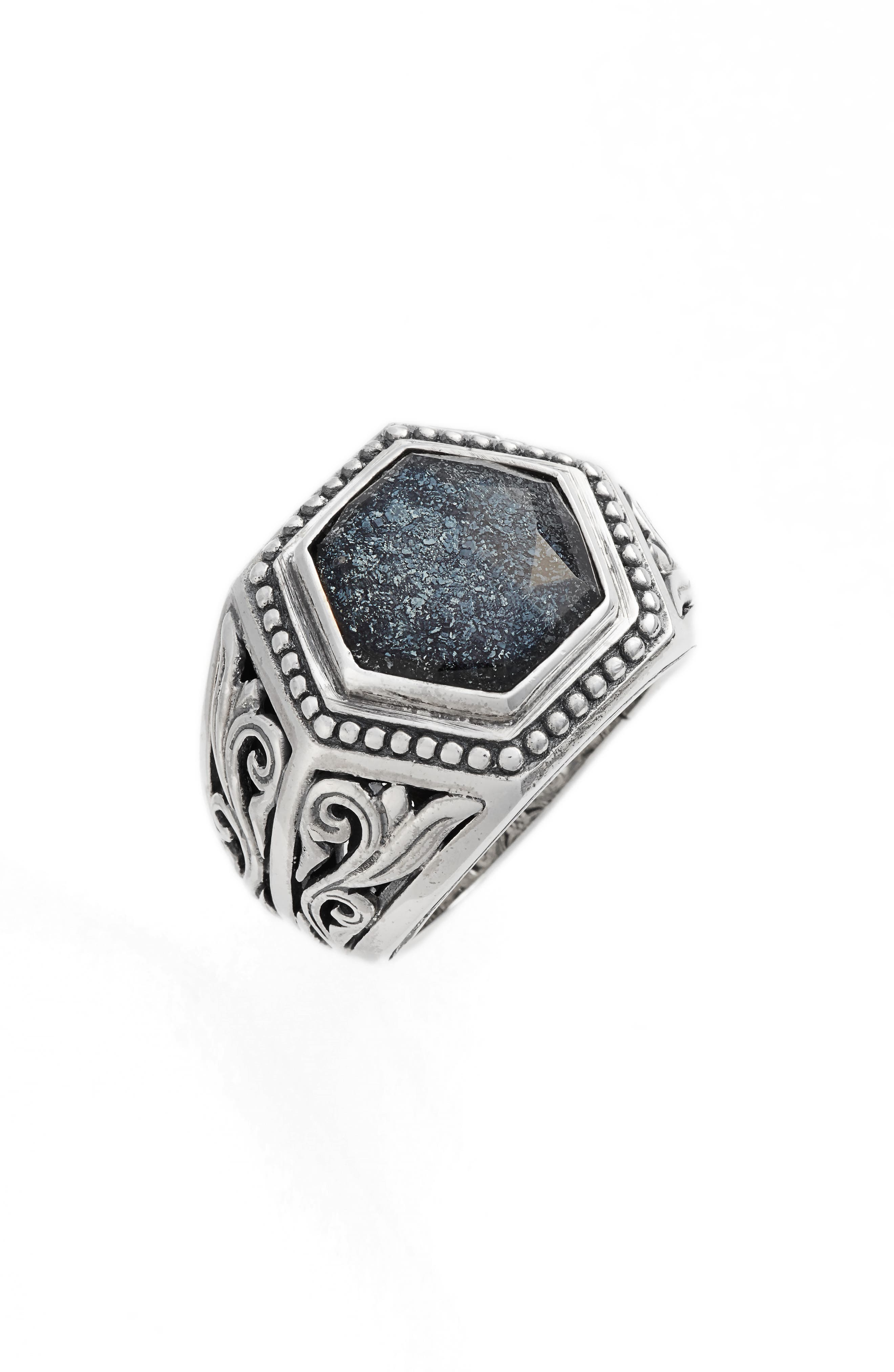 Santorini Hematite Hexagon Ring,                         Main,                         color, Silver/ Hematite