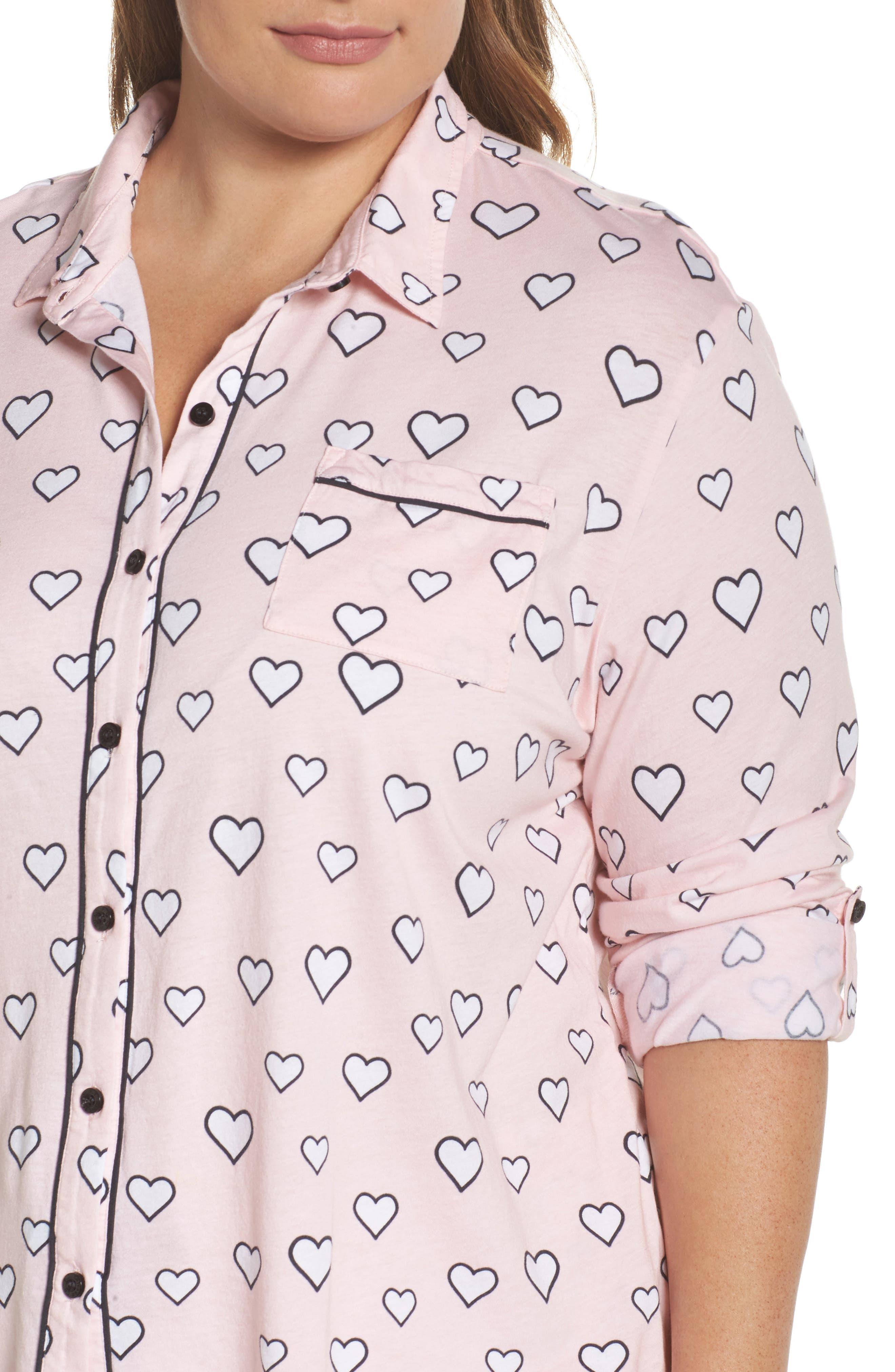 Alternate Image 4  - PJ Salvage Heart Print Short Pajamas (Plus Size)