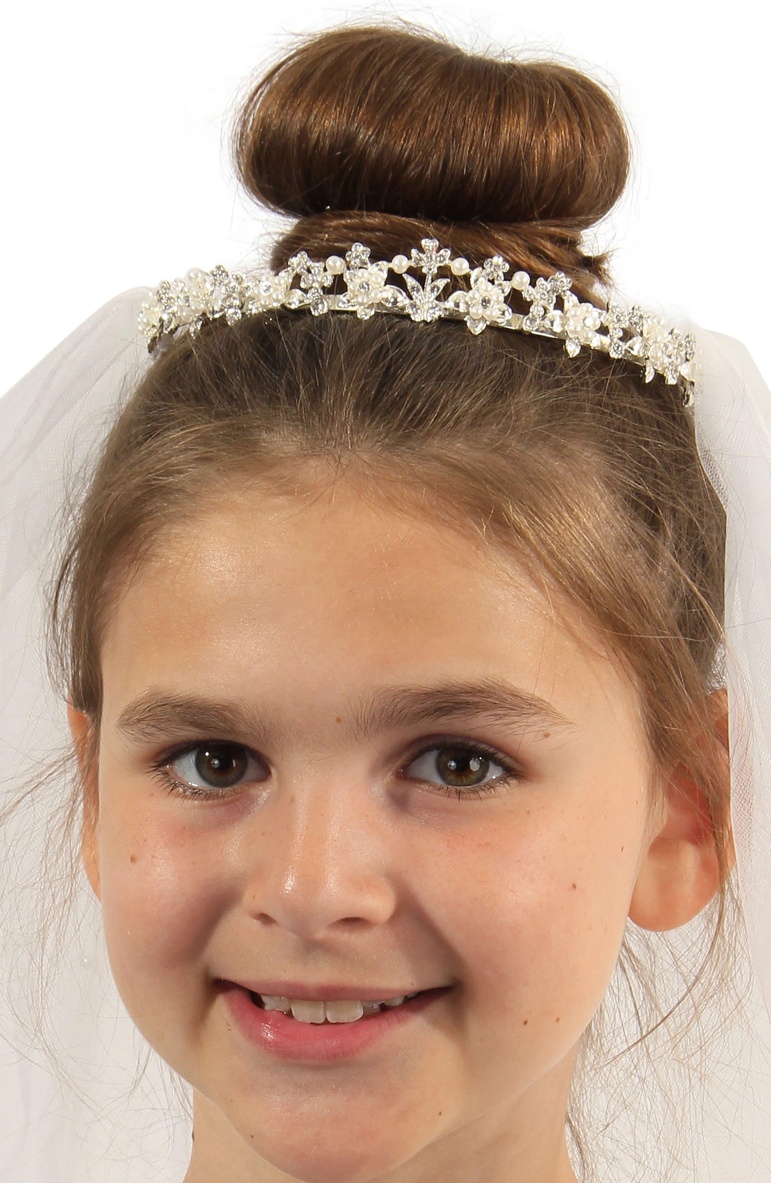 Alternate Image 6  - Lauren Marie Imitation Pearl Crown & Veil (Big Girls)