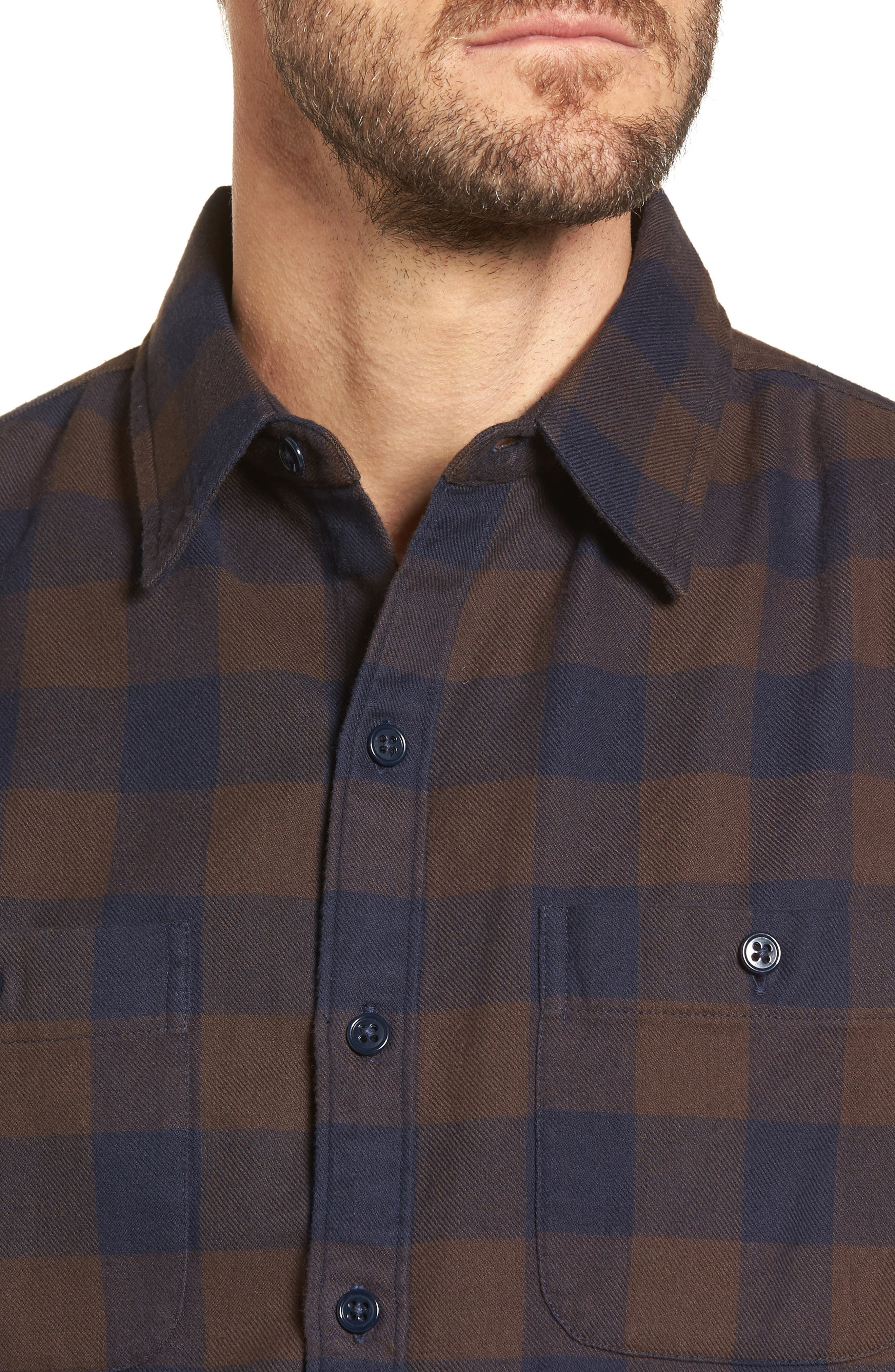 Slim Fit Check Flannel Shirt,                             Alternate thumbnail 4, color,                             Gingham/ Stormy Night