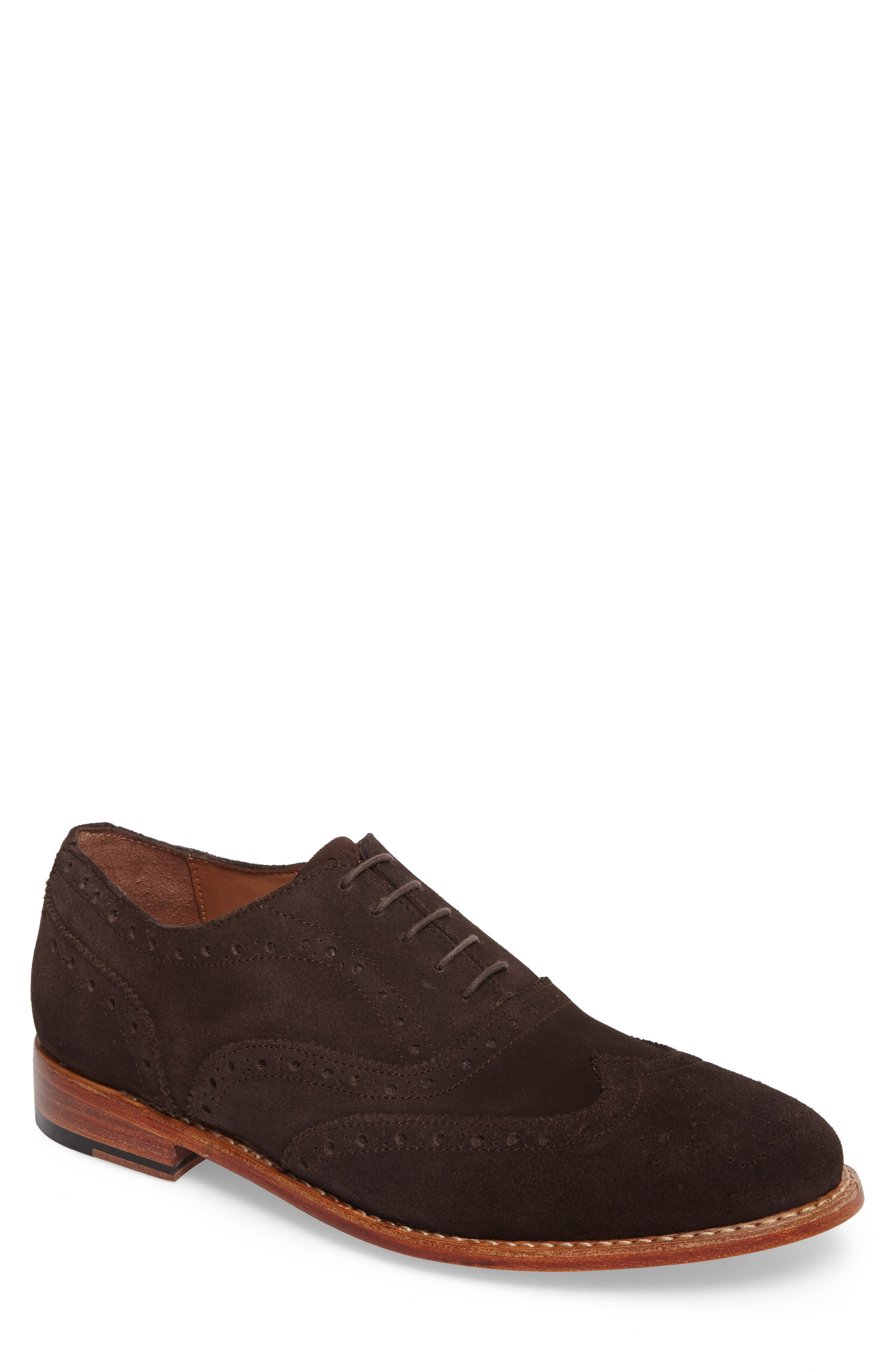 Wingtip,                             Main thumbnail 1, color,                             Brown Suede