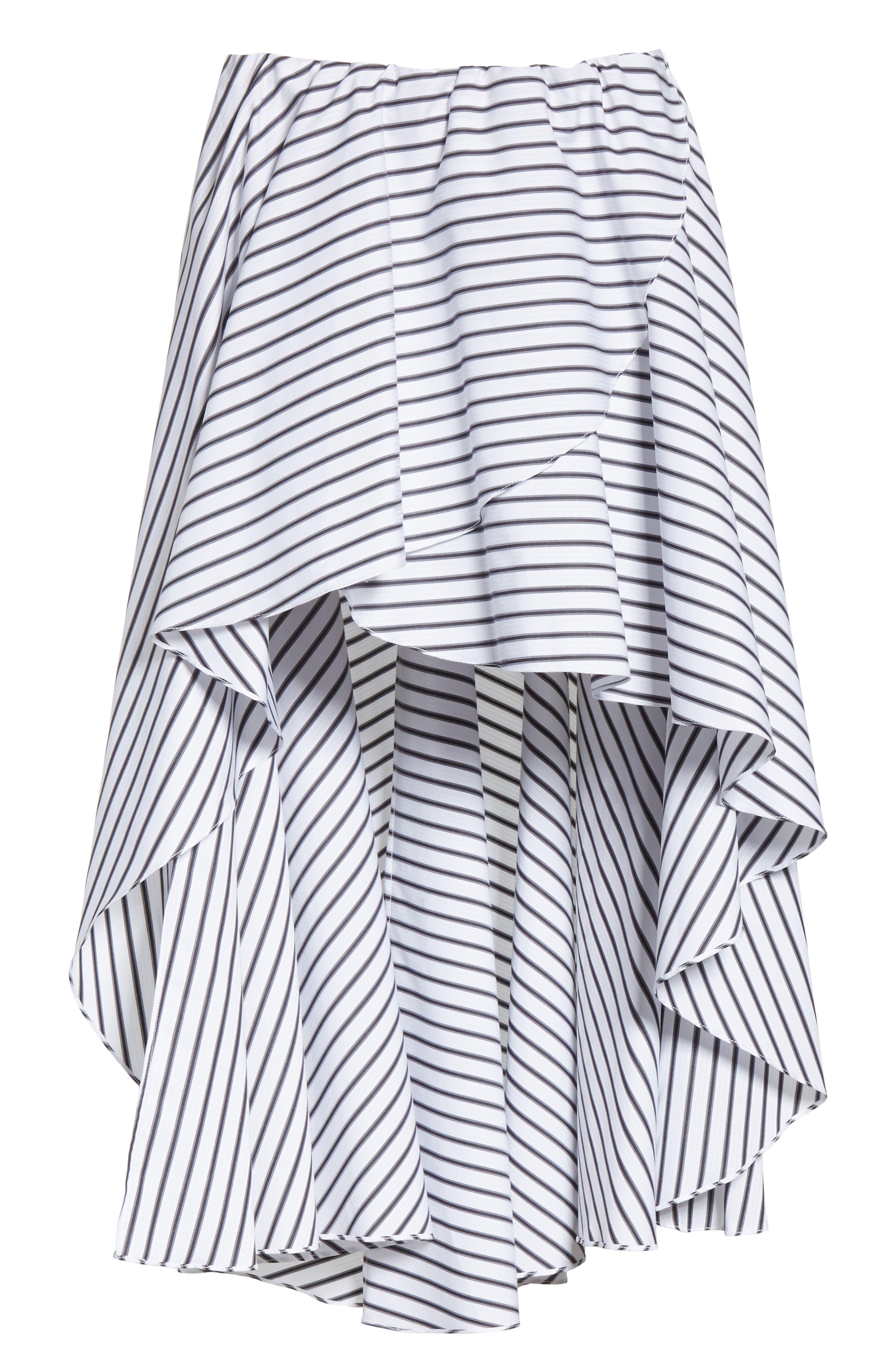 Adelle High/Low Ruffle Skirt,                             Alternate thumbnail 6, color,                             White/ Black