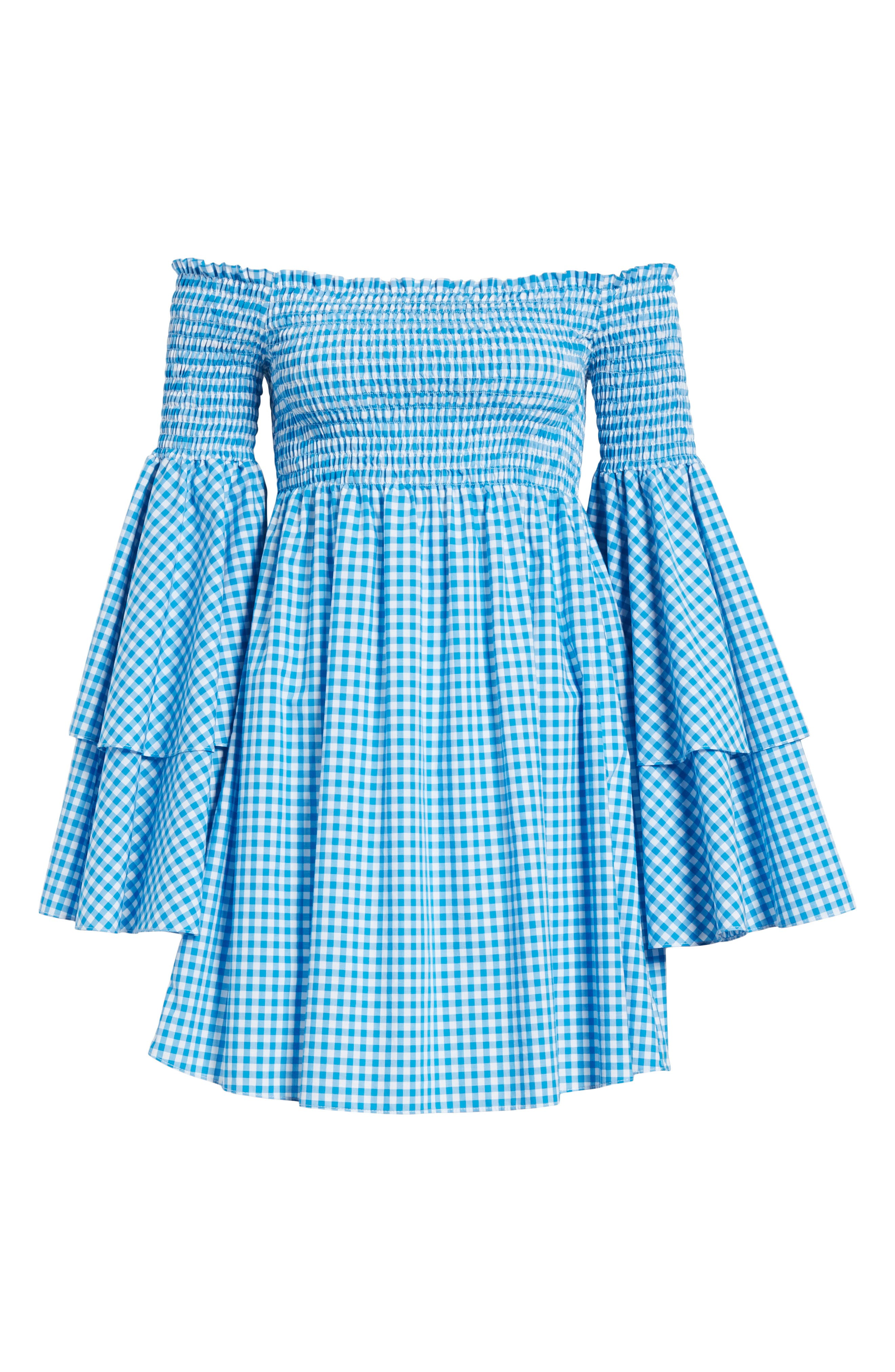 Appolonia Gingham Off the Shoulder Dress,                             Alternate thumbnail 6, color,                             Turquoise