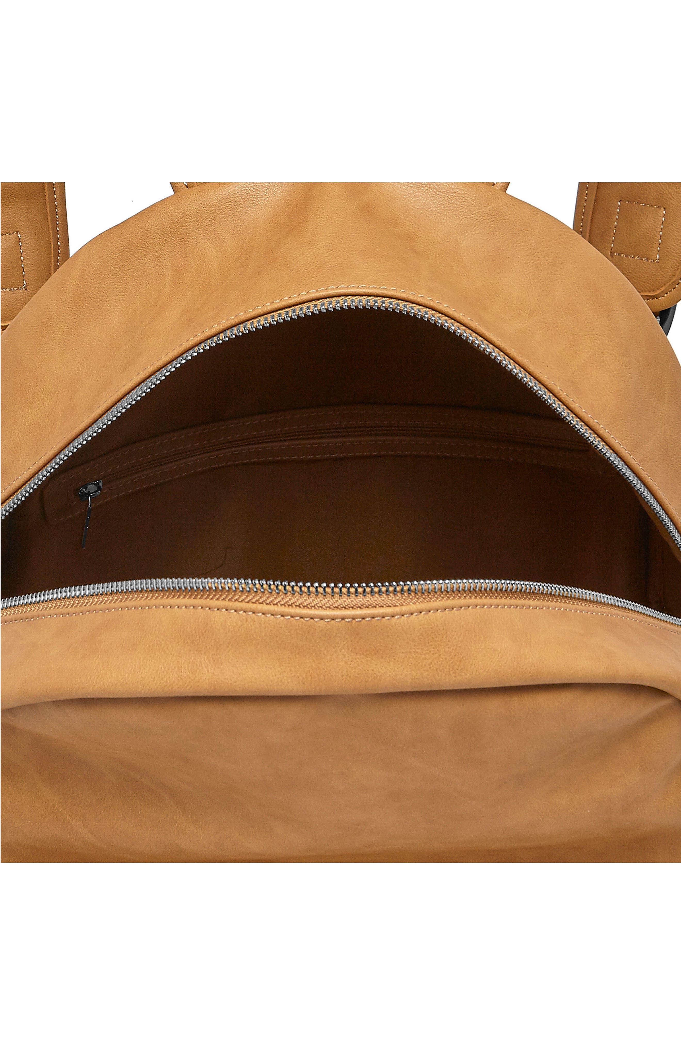 Practical Vegan Leather Backpack,                             Alternate thumbnail 3, color,                             Camel