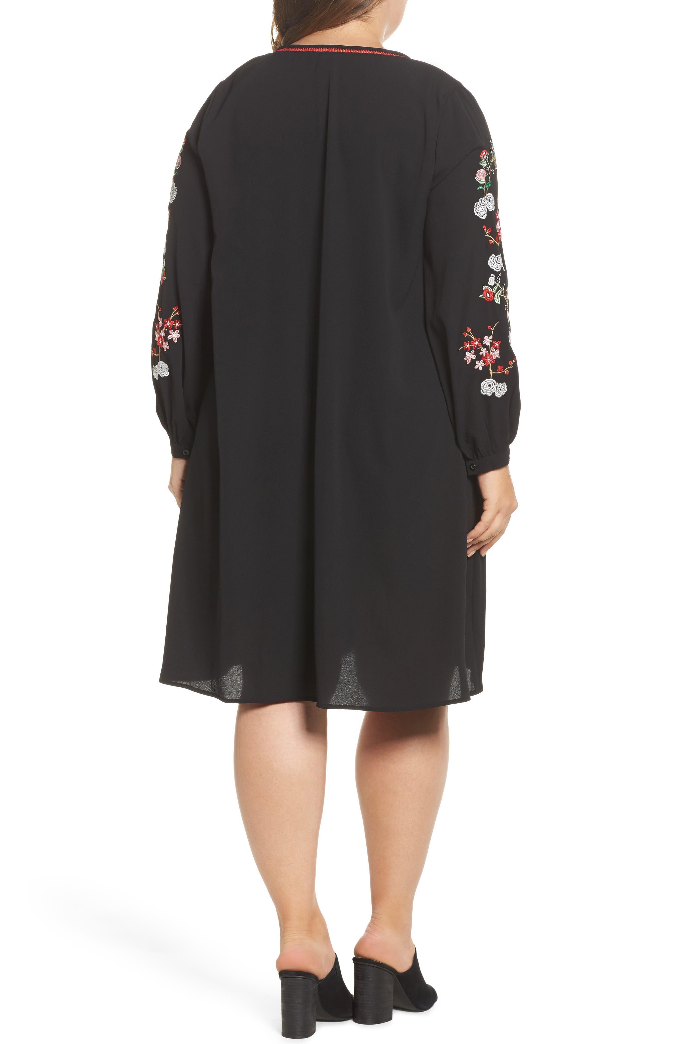 Floral Embroidered Shift Dress,                             Alternate thumbnail 2, color,                             Black