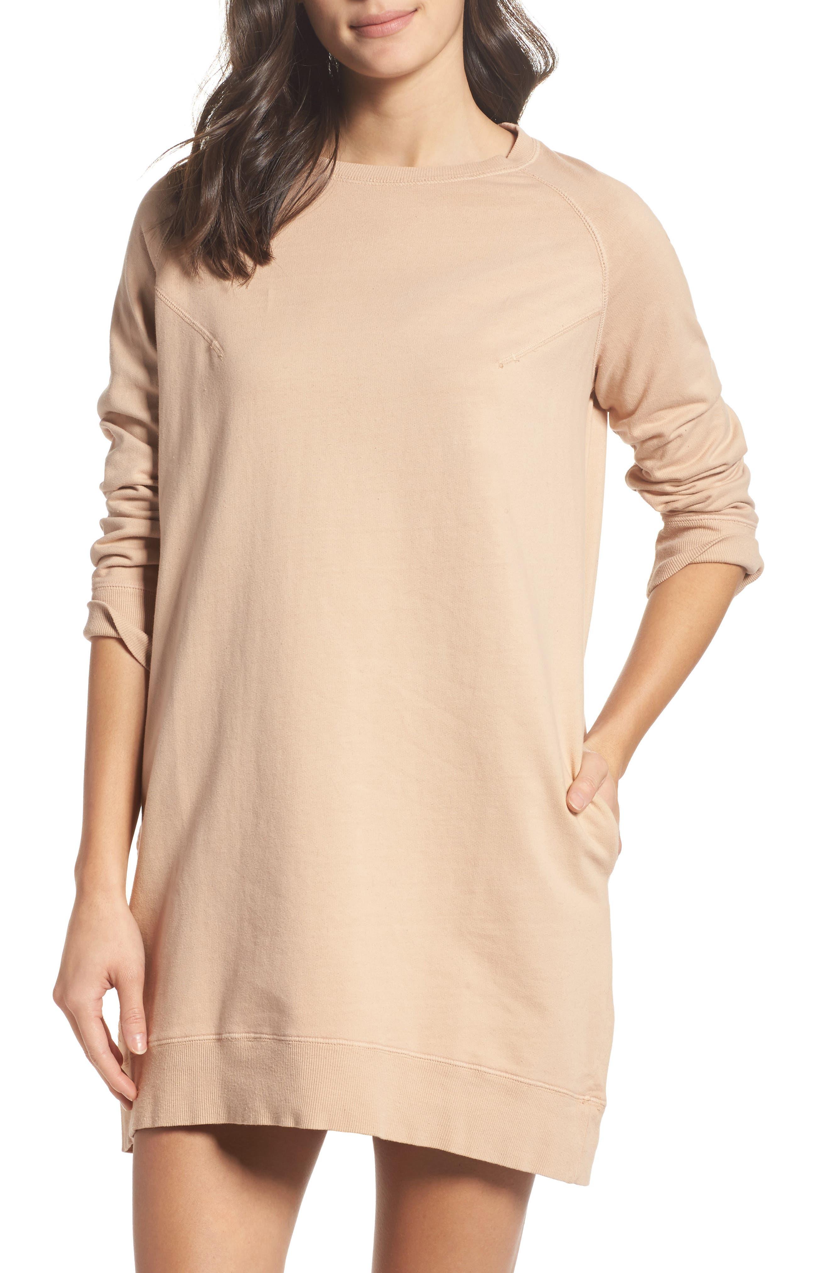 Sweatshirt Dress,                             Main thumbnail 1, color,                             Nude