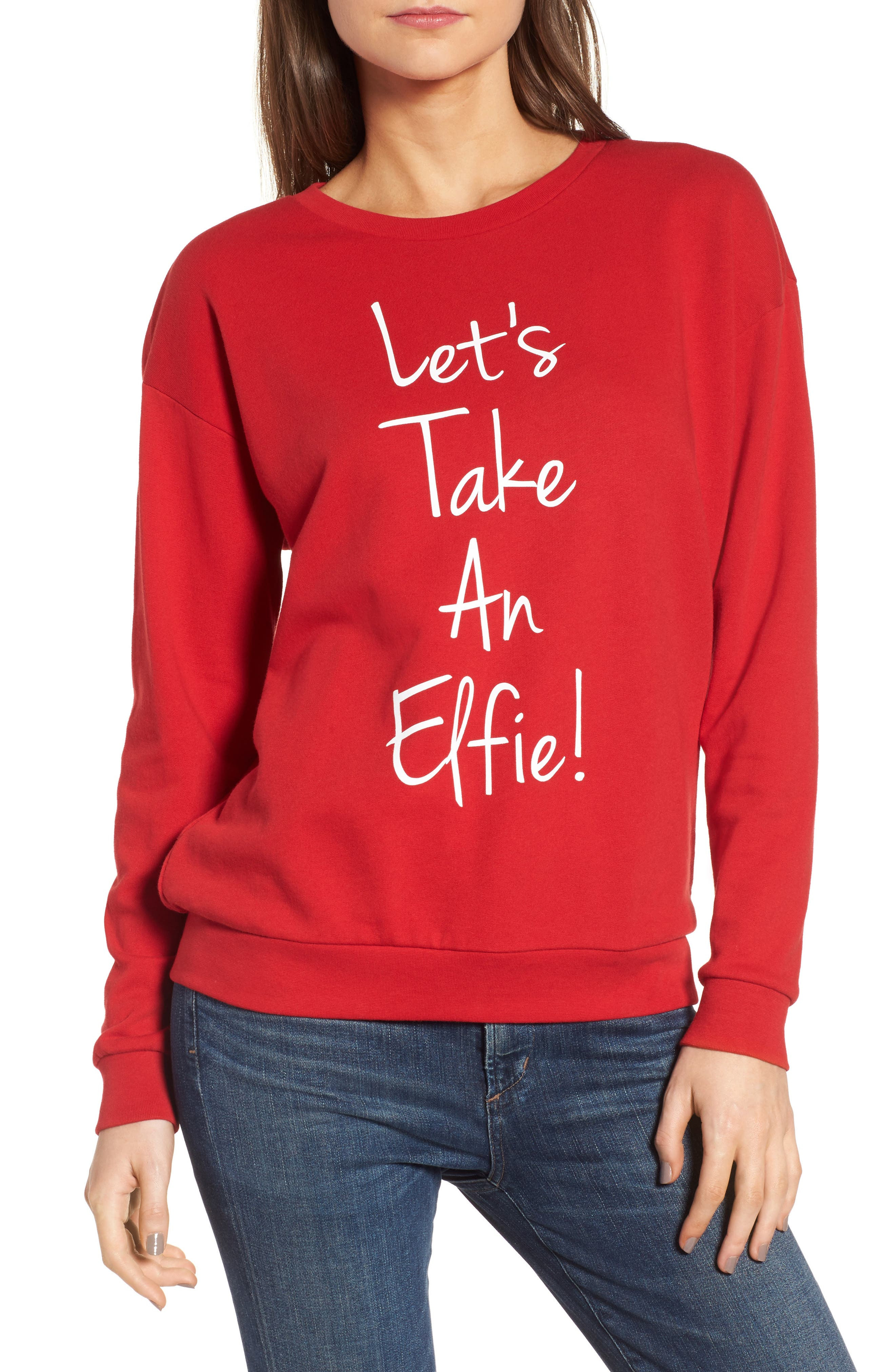 Let's Take an Elfie Sweatshirt,                             Main thumbnail 1, color,                             Red