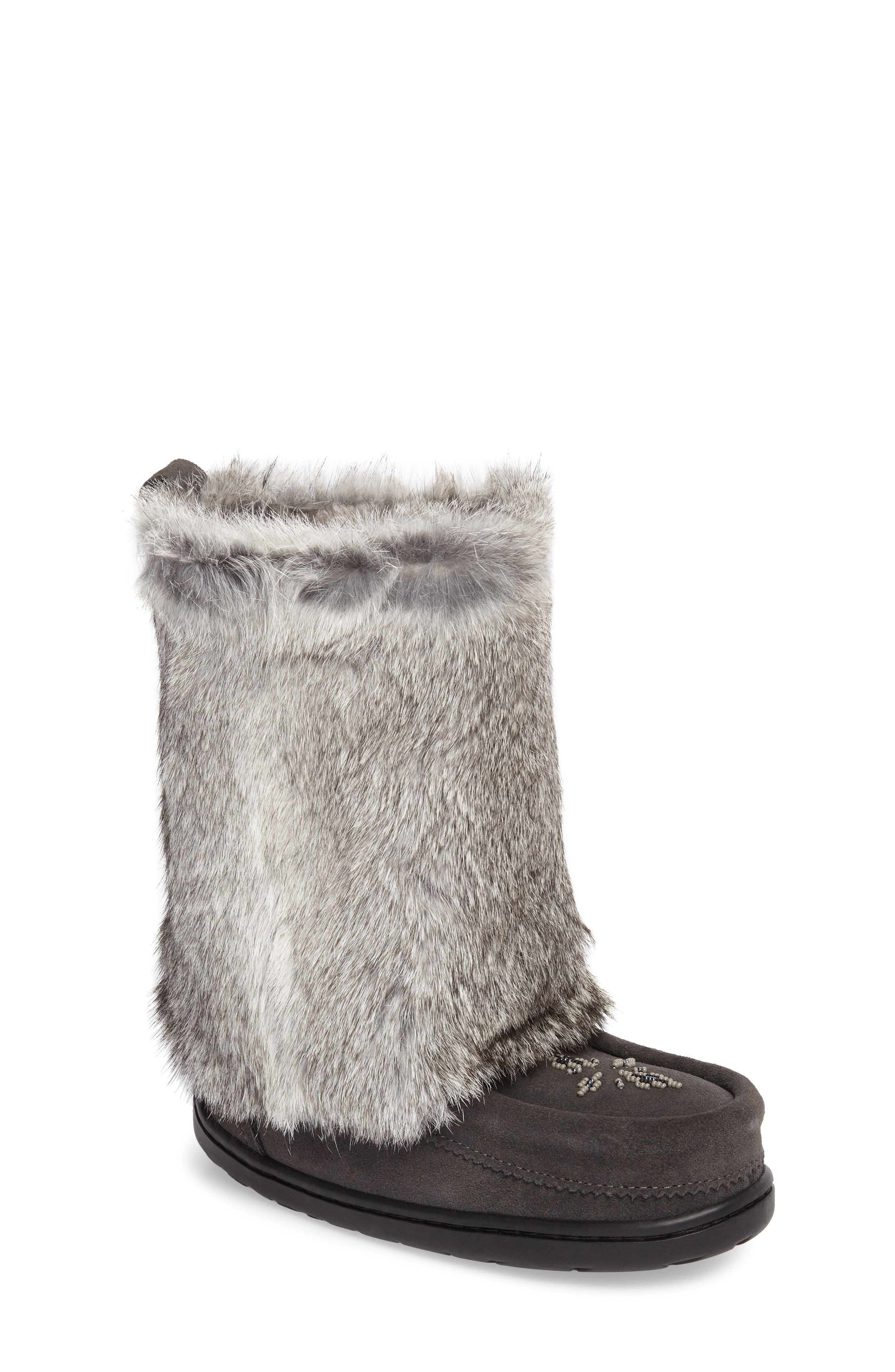 Nordic Genuine Rabbit Fur & Genuine Shearling Mukluk Boot,                         Main,                         color, Charcoal