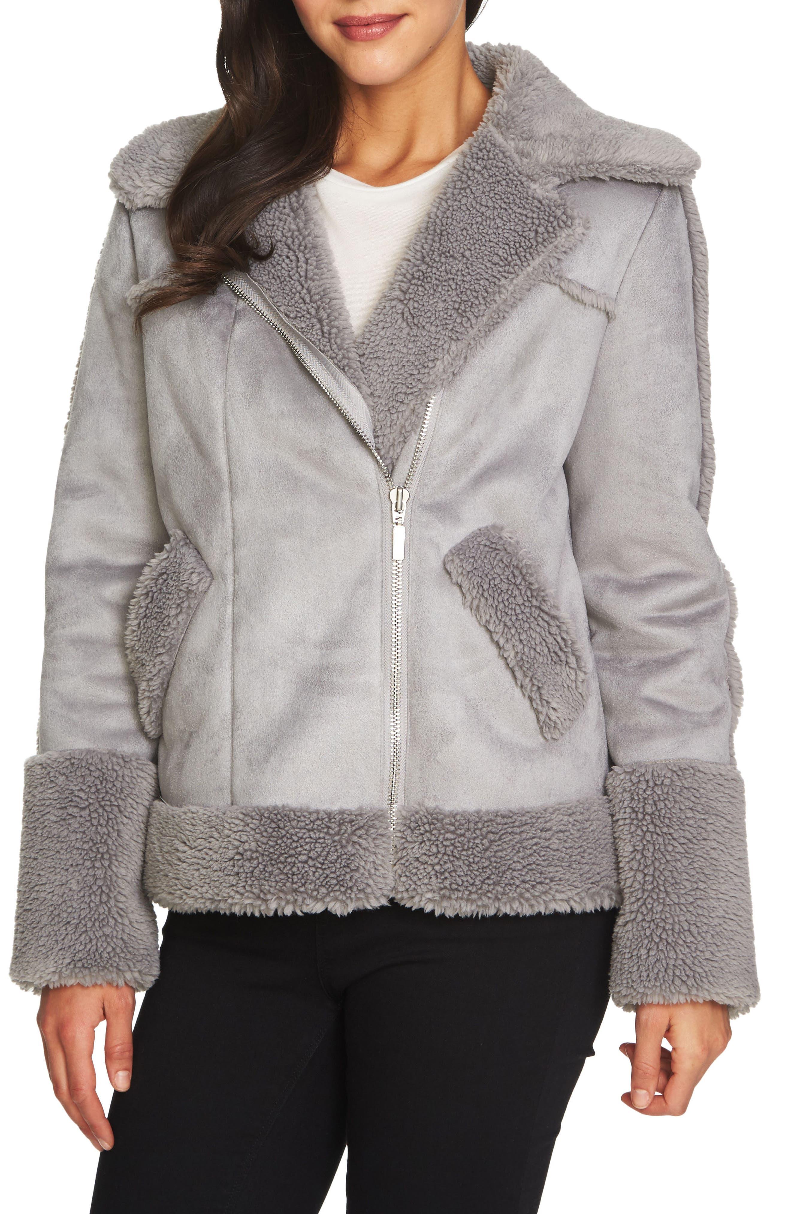 Faux Shearling Moto Jacket,                         Main,                         color, 139-Soot Grey