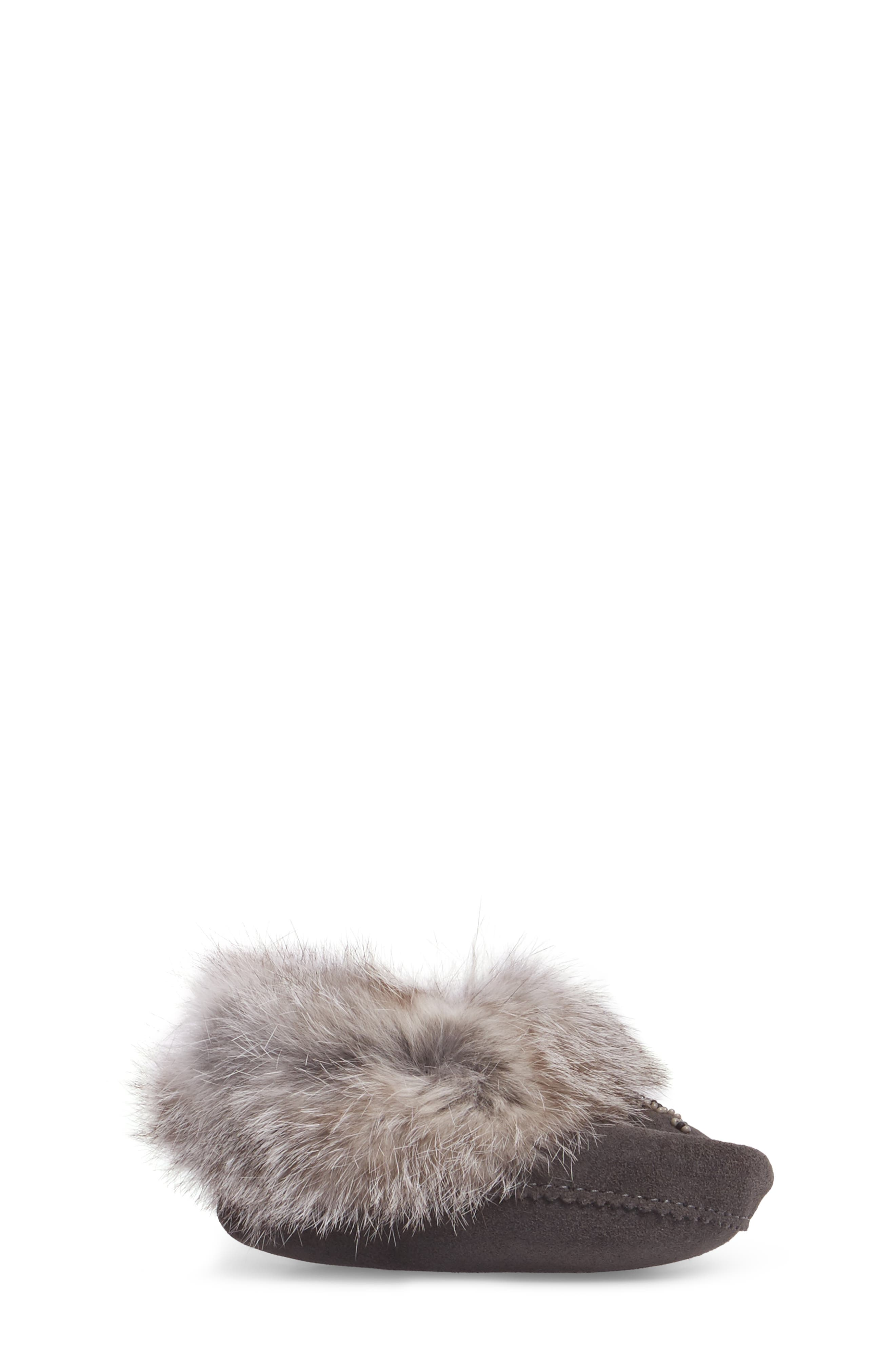 Genuine Rabbit Fur Moccasin,                             Alternate thumbnail 3, color,                             Charcoal
