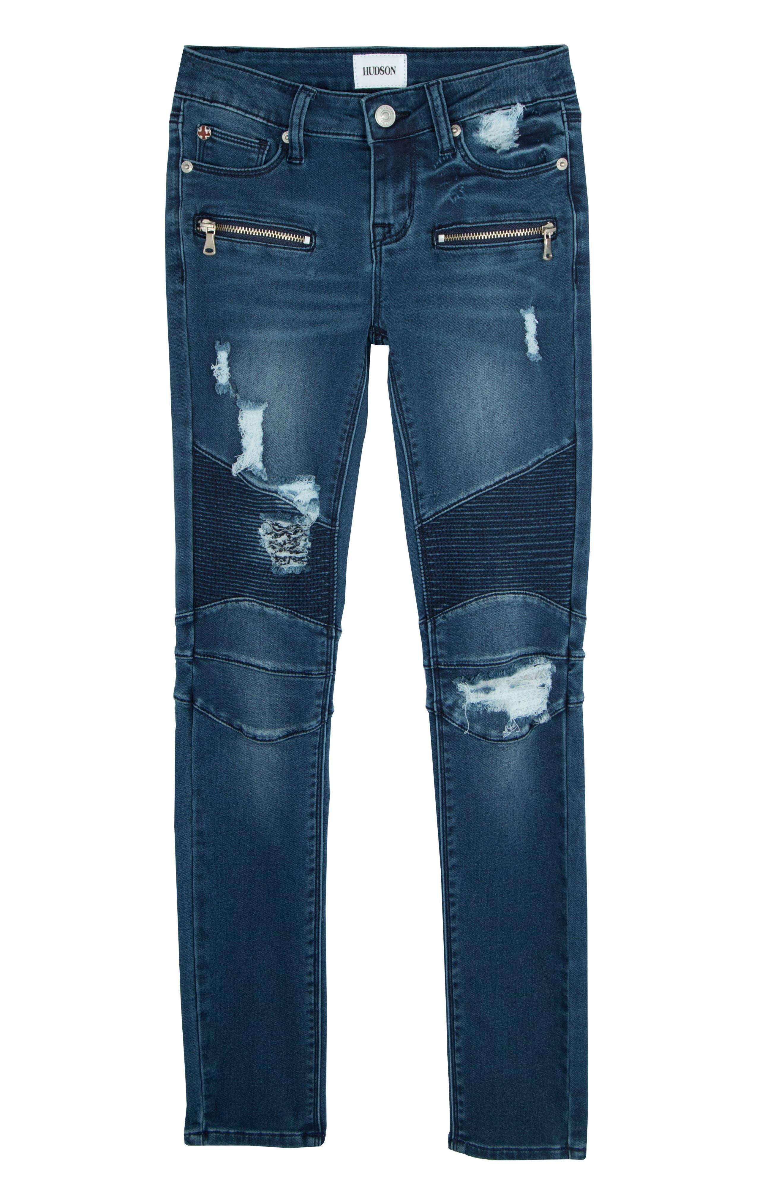 London Distressed Moto Skinny Jeans,                         Main,                         color, Shaken Blue